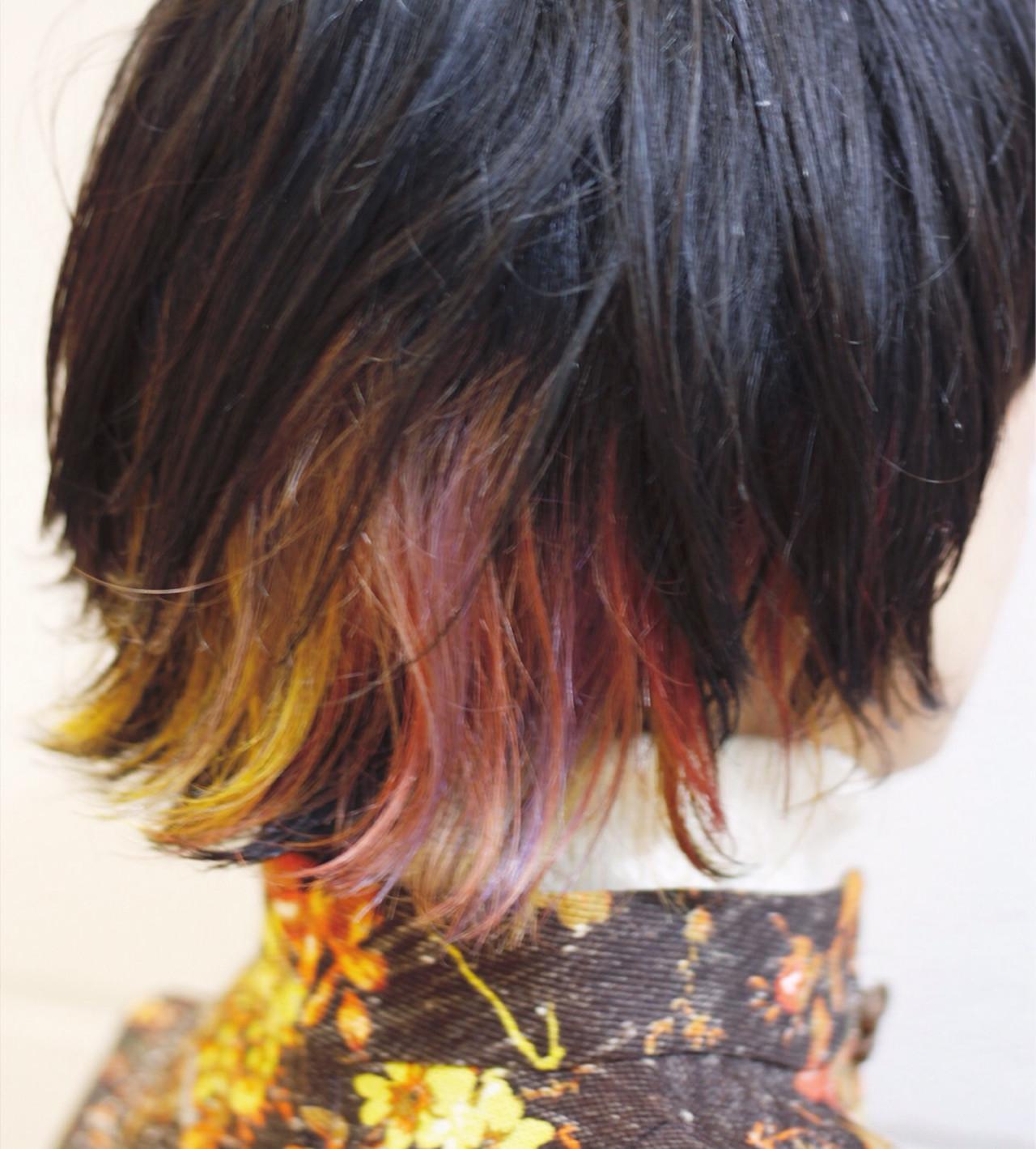 ミディアム ウルフカット カラフルカラー ストリート ヘアスタイルや髪型の写真・画像 | Hatori Masaki / rela hair salon