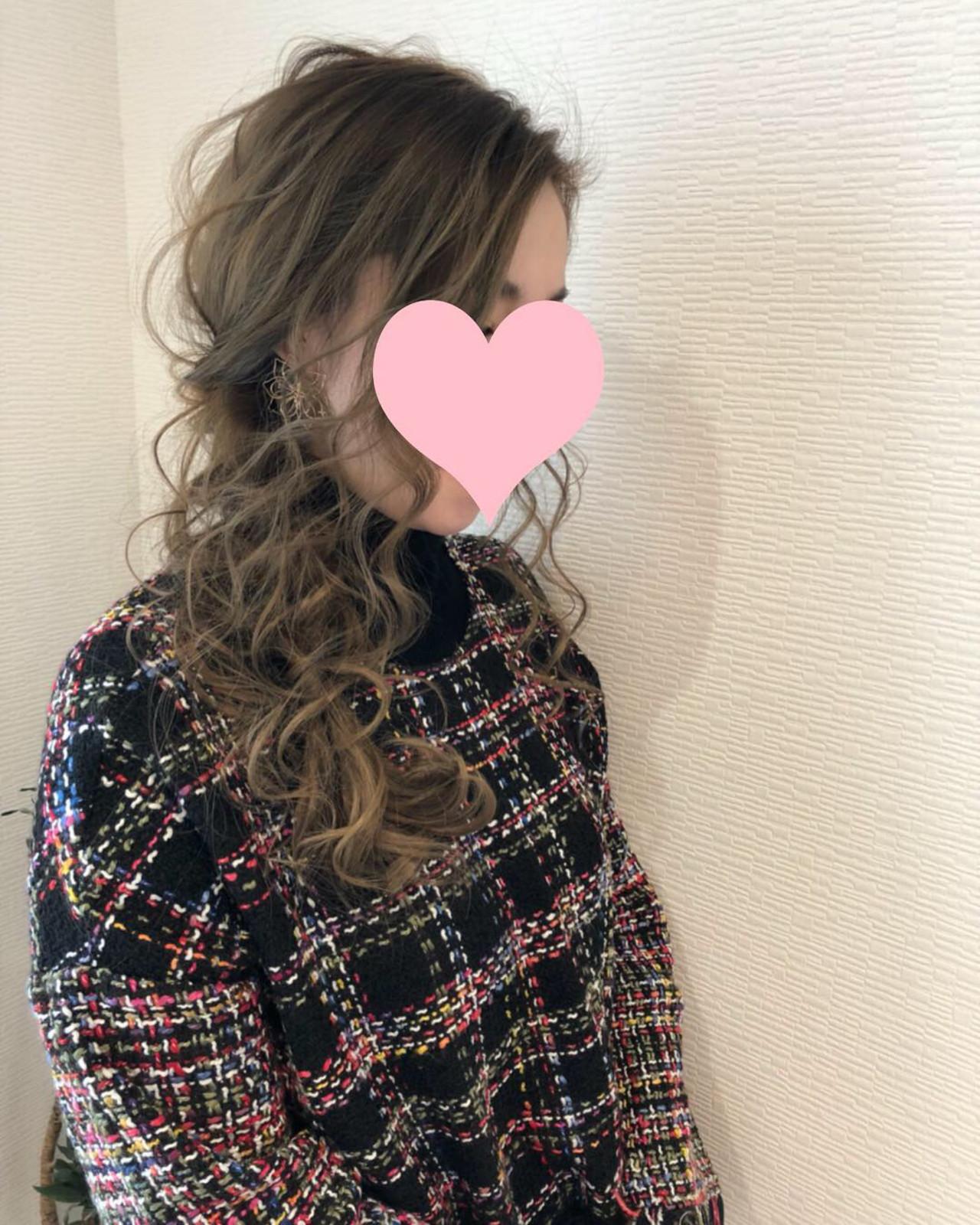 ヘアアレンジ ロング サイドアップ 編み込み ヘアスタイルや髪型の写真・画像 | mai / HAIR SALON STELLA
