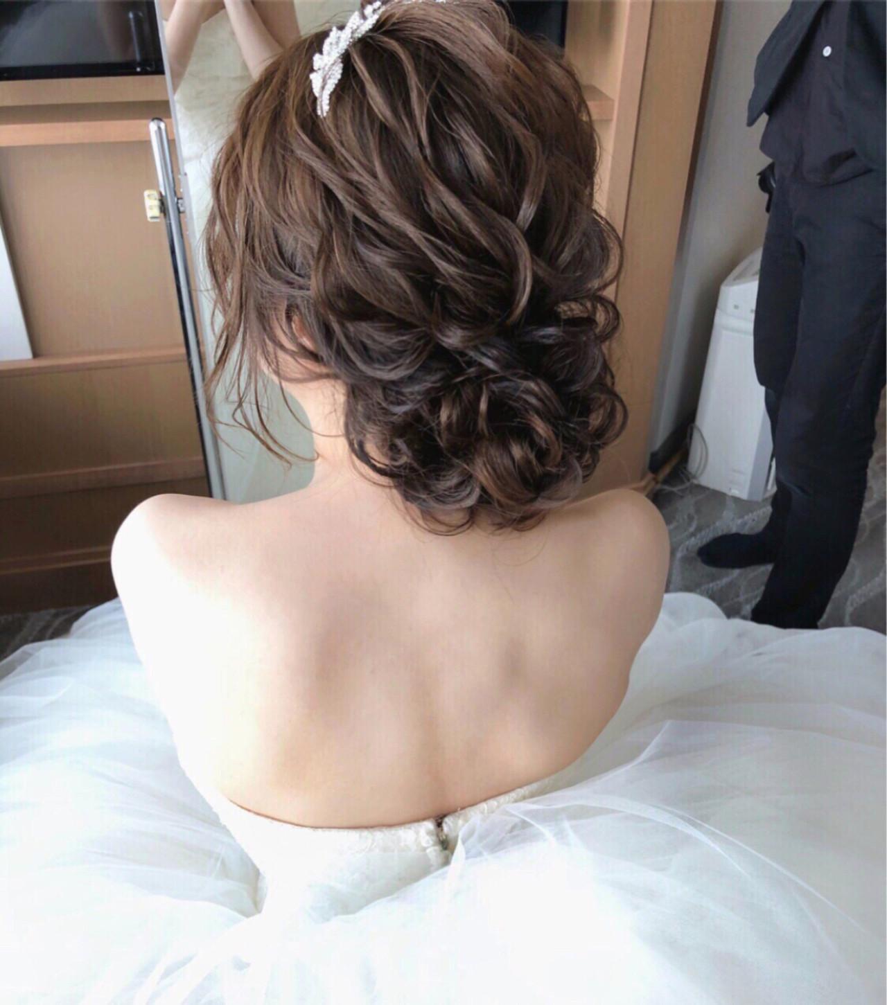 ゆるふわ ヘアアレンジ ナチュラル 結婚式 ヘアスタイルや髪型の写真・画像