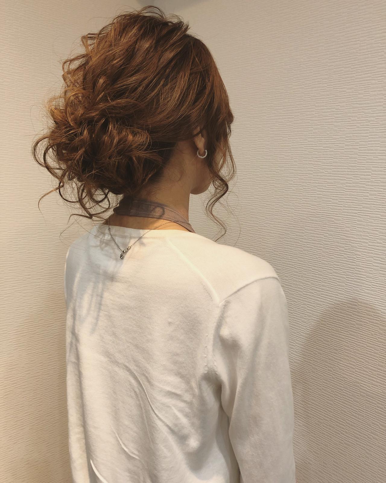 ヘアアレンジ フェミニン セミロング アップスタイル ヘアスタイルや髪型の写真・画像