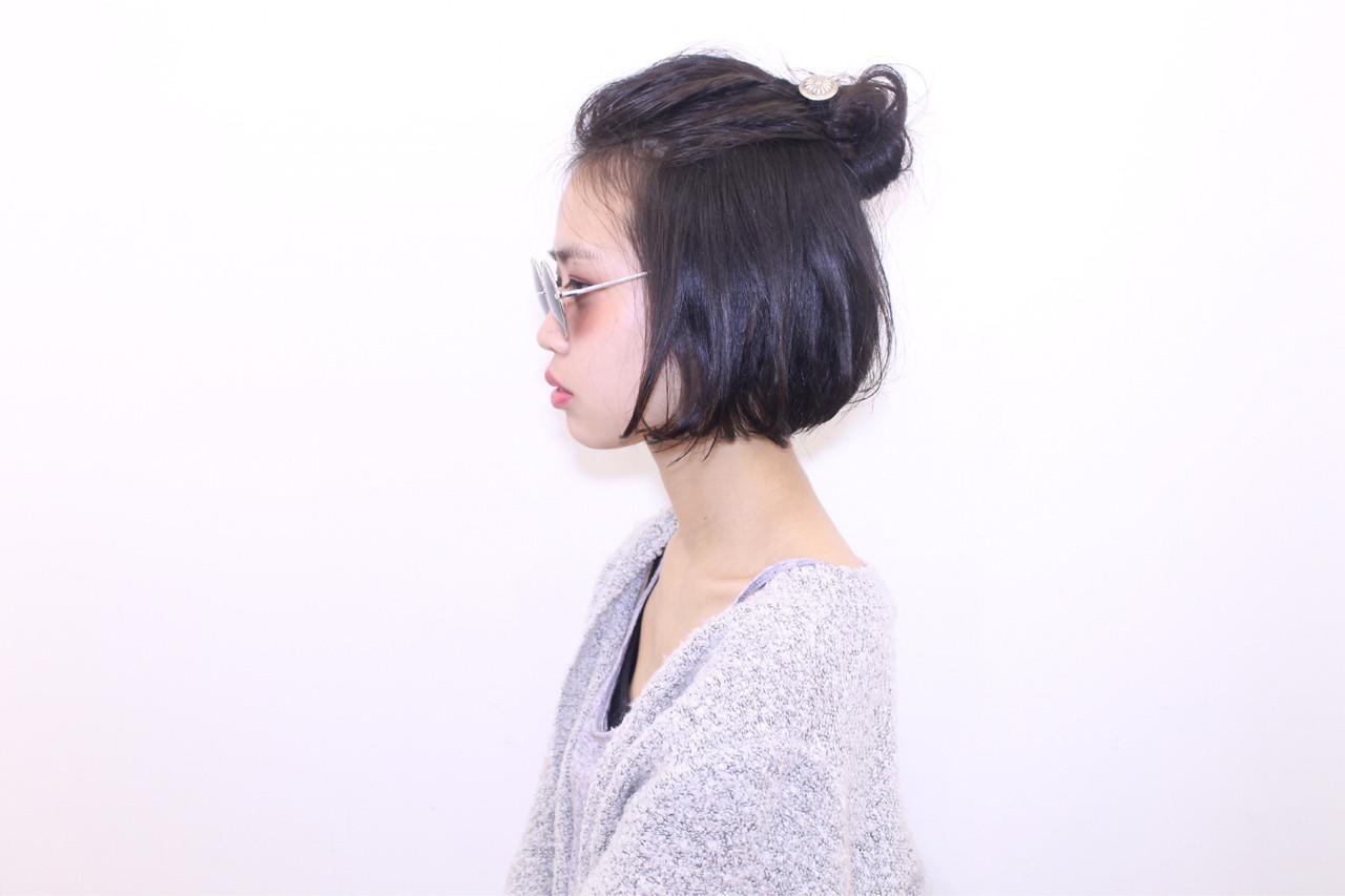 ヘアアレンジ 外国人風 ボブ ハーフアップ ヘアスタイルや髪型の写真・画像 | 長井美菜 / Carlm