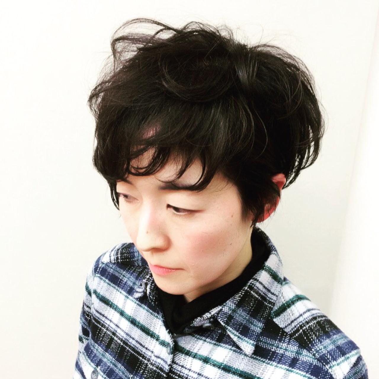 黒髪 ショート ナチュラル 大人かわいい ヘアスタイルや髪型の写真・画像   MAMI FUJII / Miniature garden