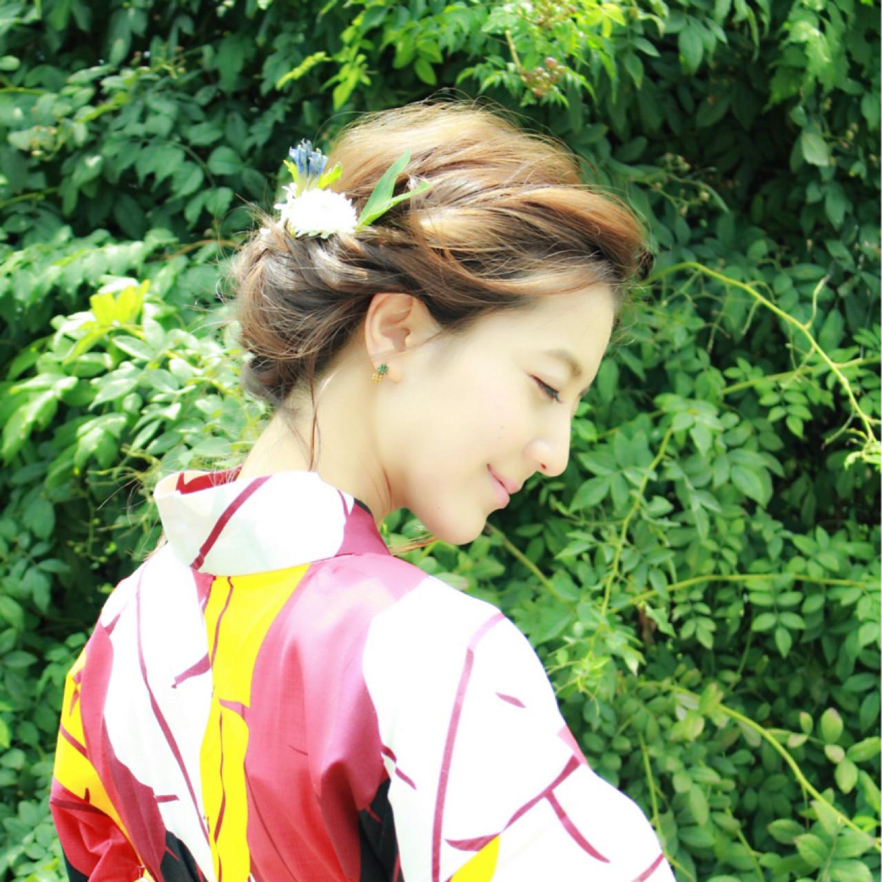 涼しげ 夏 花火大会 色気 ヘアスタイルや髪型の写真・画像