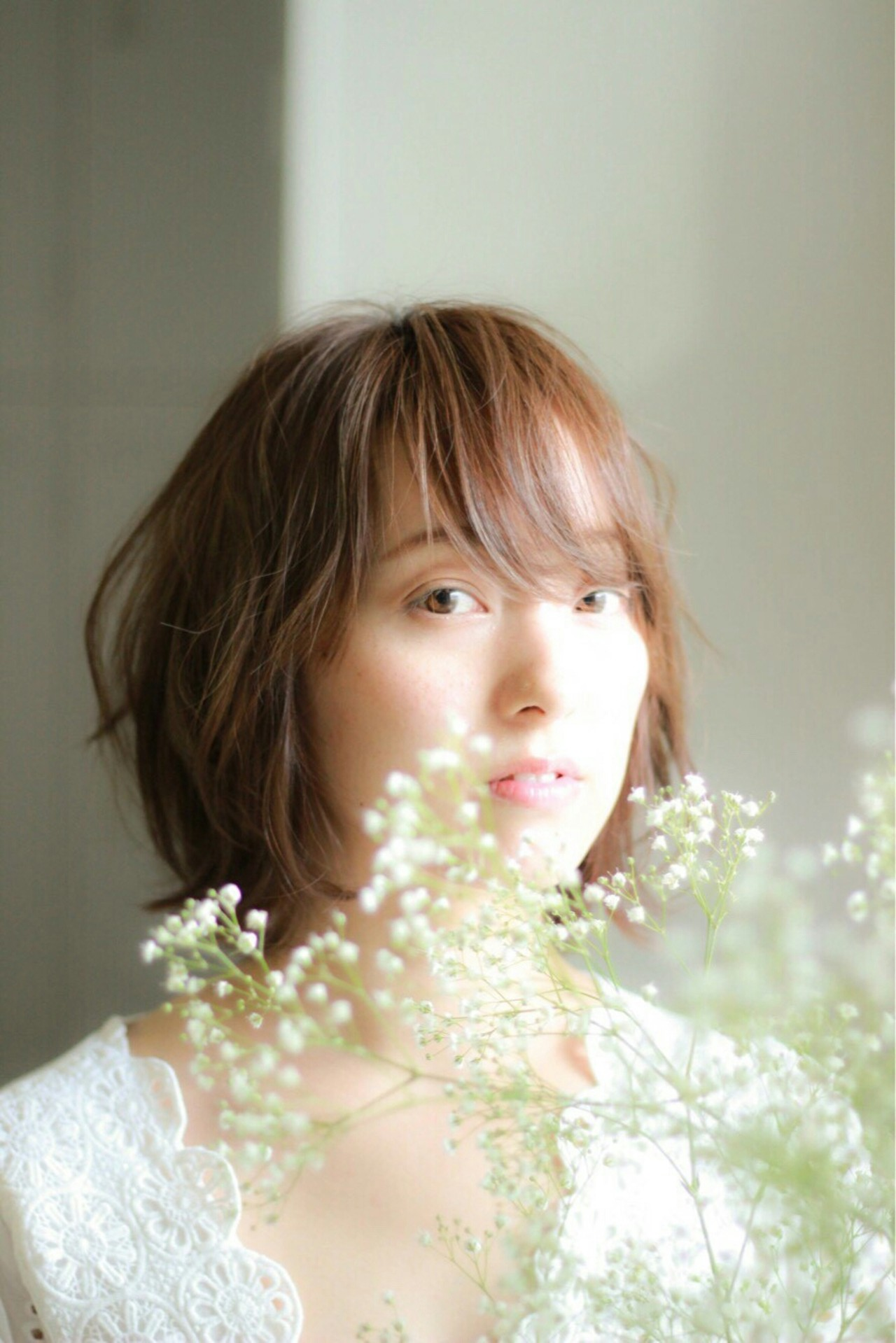 大人かわいい ボブ レイヤーカット ブラウンベージュ ヘアスタイルや髪型の写真・画像 | asuka /