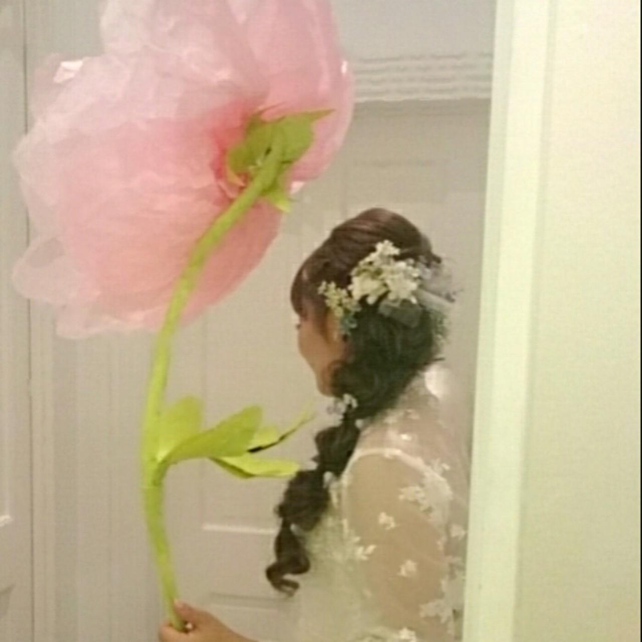 ヘアアレンジ ハーフアップ ゆるふわ 結婚式 ヘアスタイルや髪型の写真・画像
