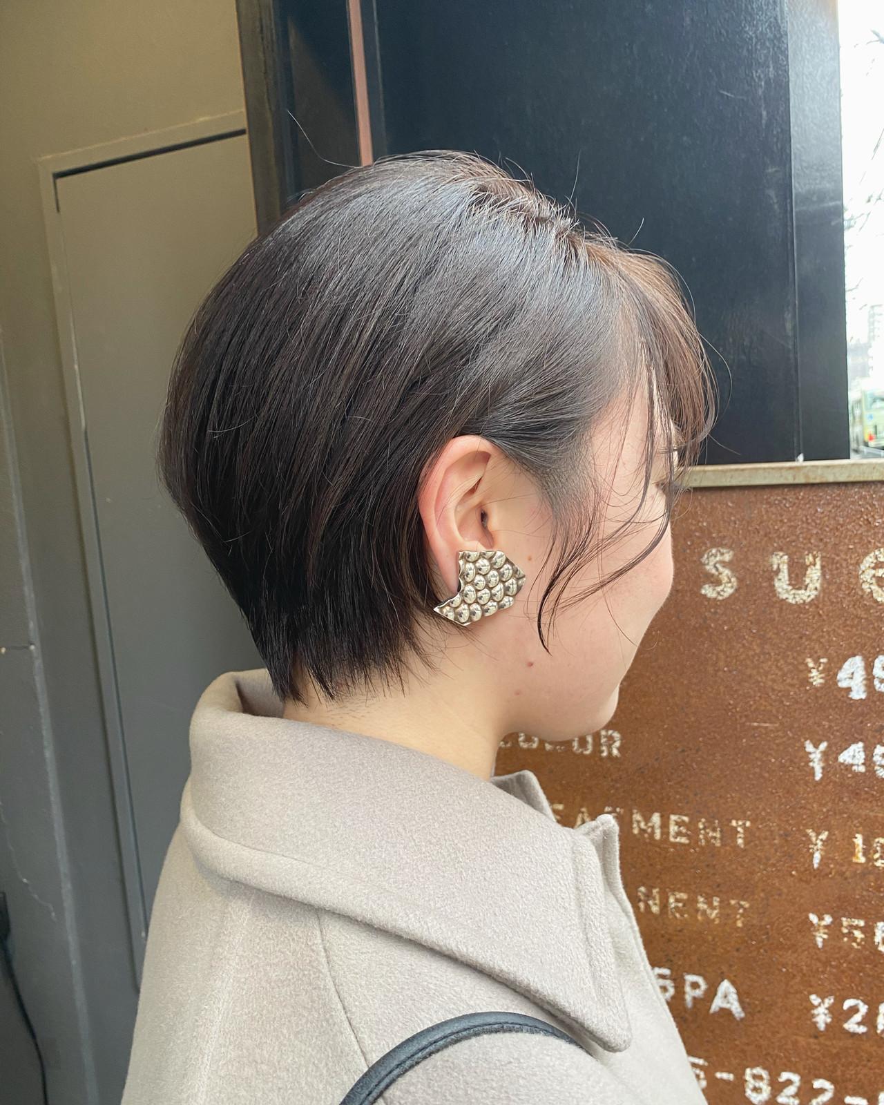 前下がりショート ナチュラル ハンサムショート ショートヘア ヘアスタイルや髪型の写真・画像