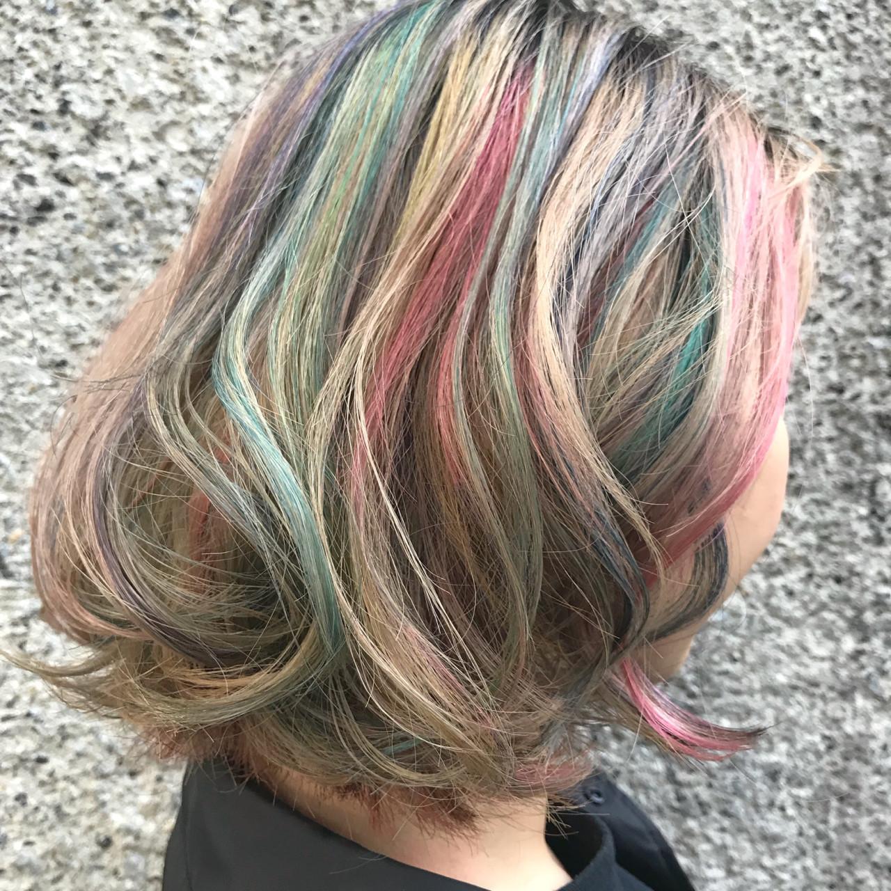 カラフルカラー ダブルカラー 外国人風カラー ミディアム ヘアスタイルや髪型の写真・画像