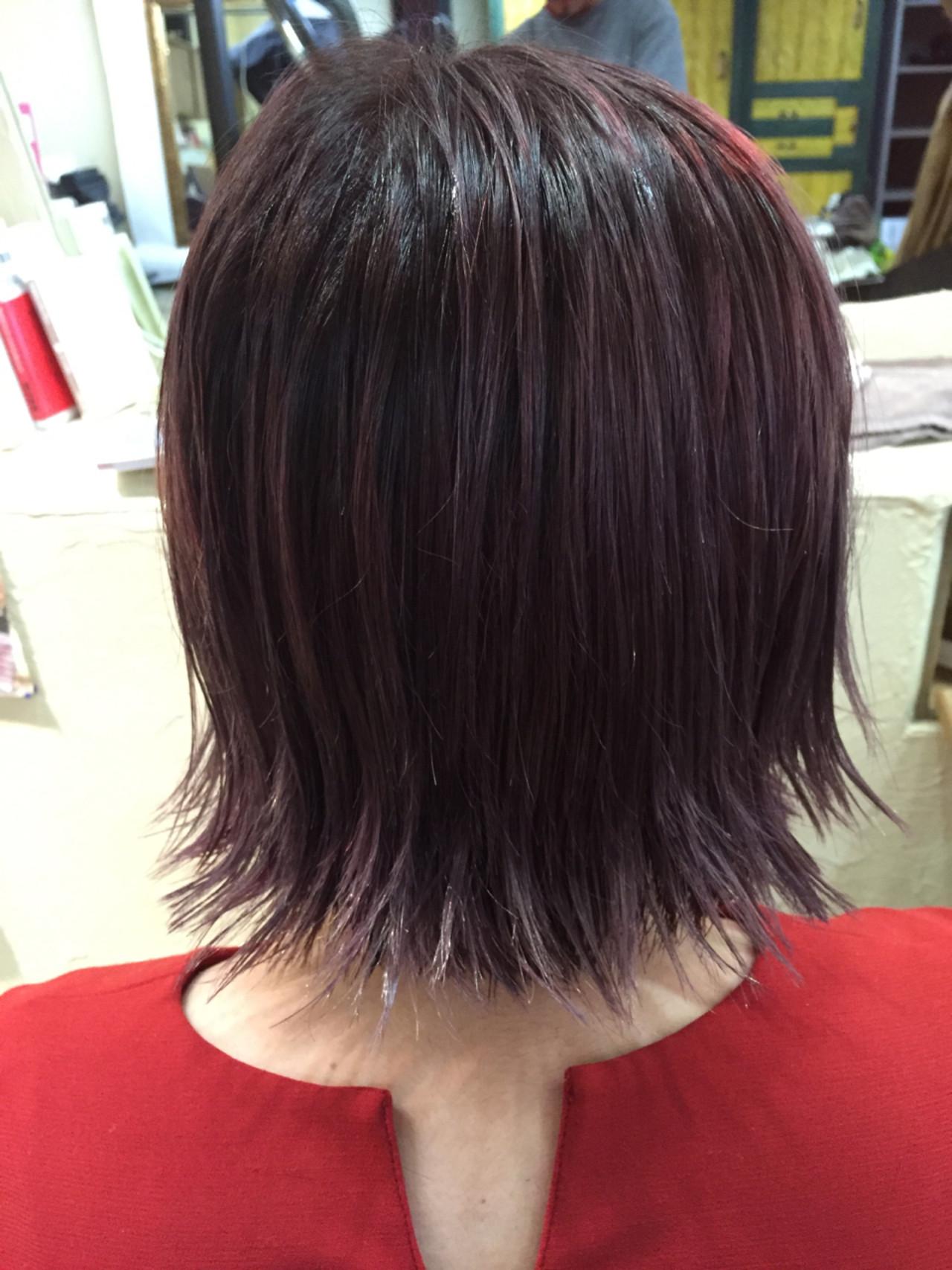 ピンク ウェットヘア グラデーションカラー ボブ ヘアスタイルや髪型の写真・画像