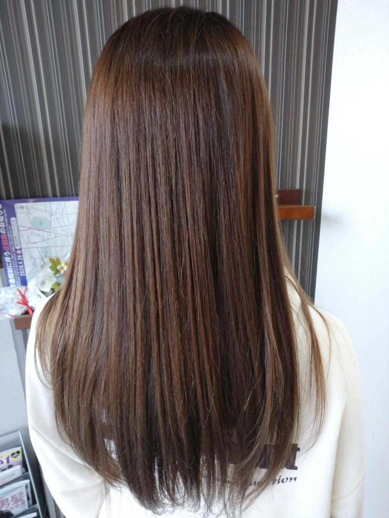 アディクシーカラー ナチュラル 髪質改善トリートメント セミロング ヘアスタイルや髪型の写真・画像