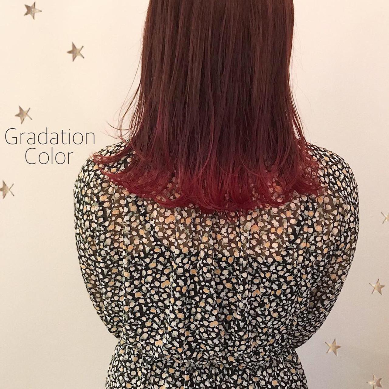 ミディアム ストリート ワンカール グラデーション ヘアスタイルや髪型の写真・画像