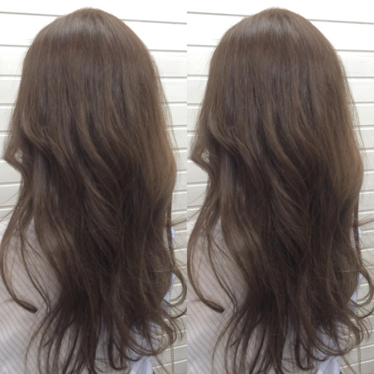ナチュラル ハイライト 暗髪 グレージュ ヘアスタイルや髪型の写真・画像