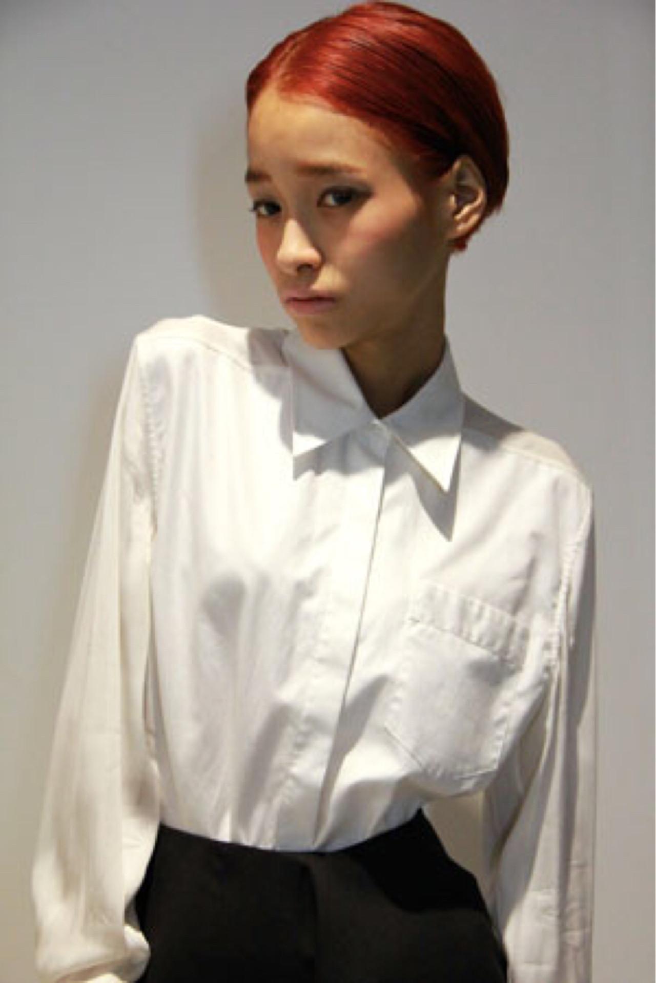 ピンク ショート 耳かけ ダブルカラー ヘアスタイルや髪型の写真・画像 | 中田 大助 / V:olta