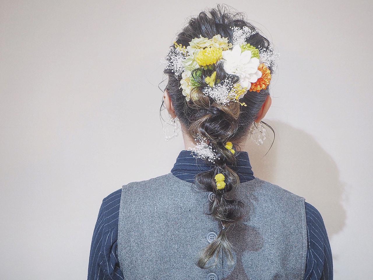 結婚式ヘアアレンジ ヘアアレンジ インナーカラー ブライダル ヘアスタイルや髪型の写真・画像   長尾育美 / SALON DE BELLE.
