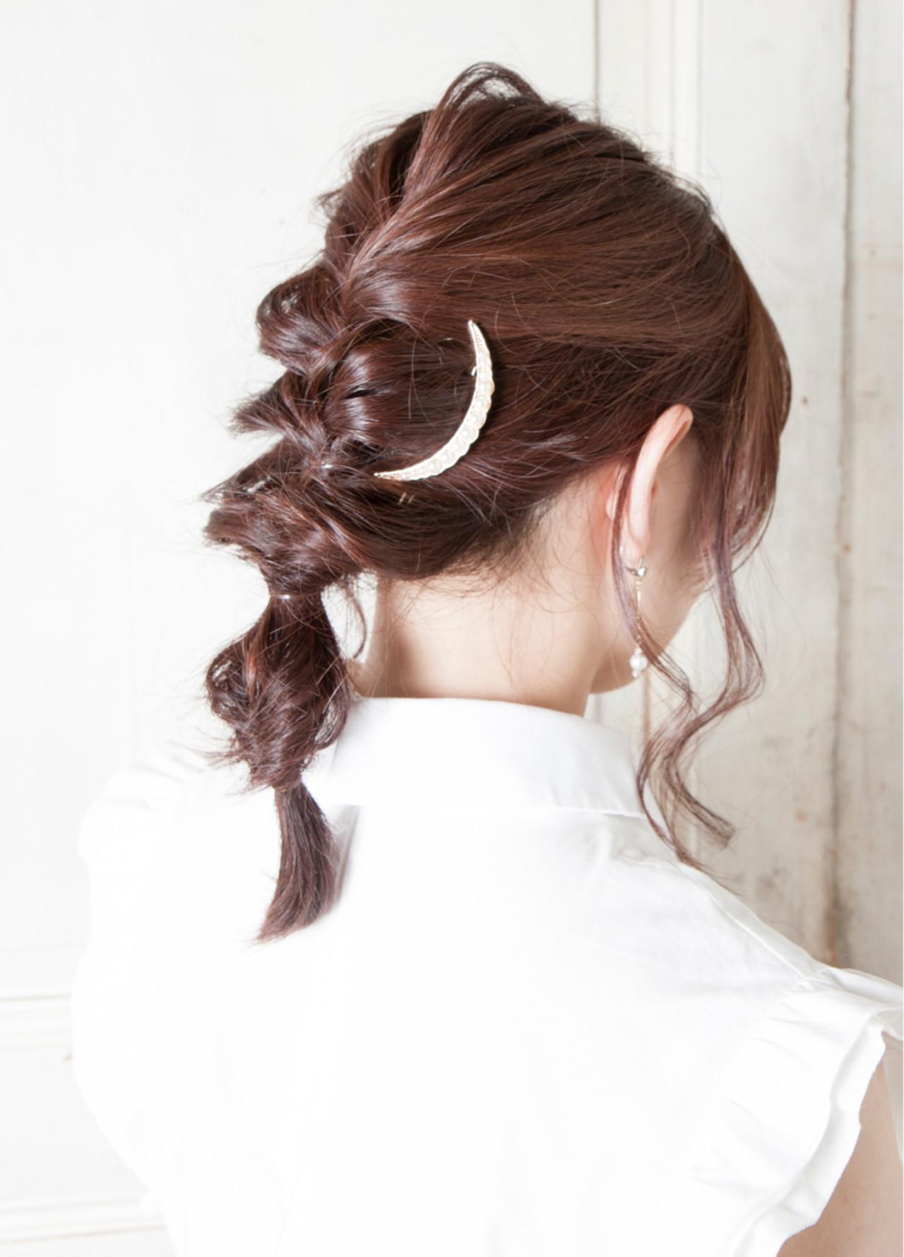 ヘアアレンジ 編み込み ミディアム デート ヘアスタイルや髪型の写真・画像 | ケンタロウ / TIARA 本店