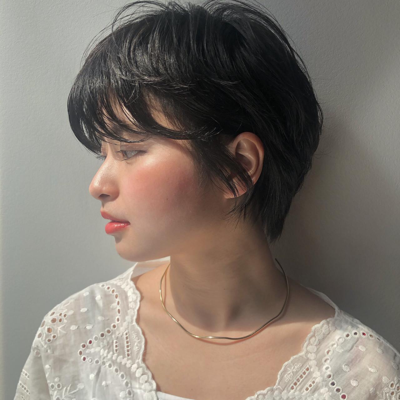 暗髪 ナチュラル デート ショート ヘアスタイルや髪型の写真・画像