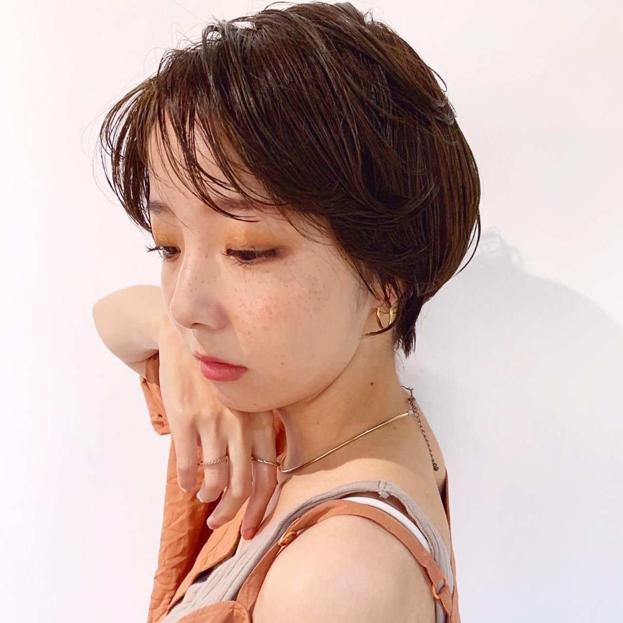ショートボブ ショート マッシュショート ナチュラル ヘアスタイルや髪型の写真・画像