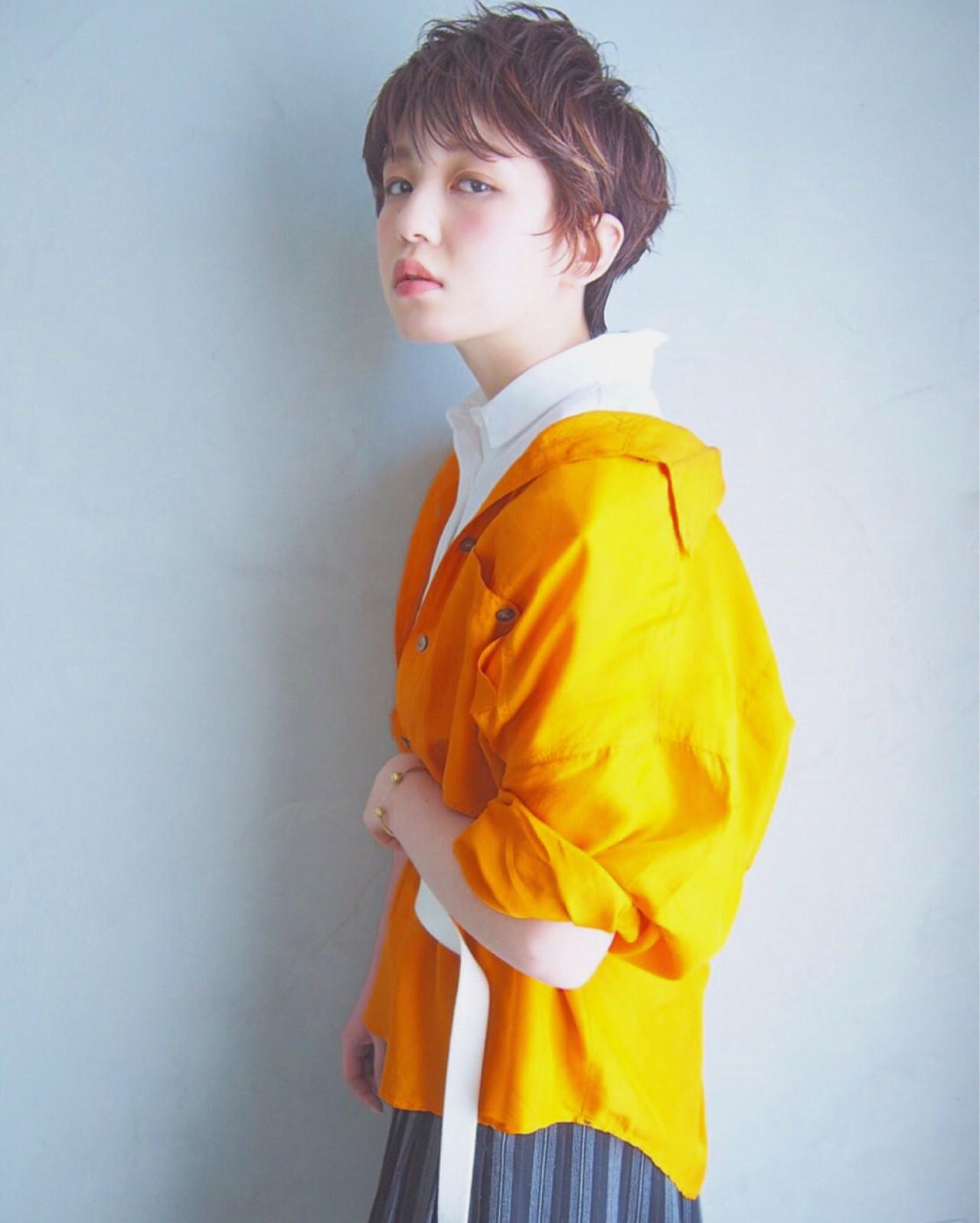 フリンジバング ヘアアレンジ ショート ハイライト ヘアスタイルや髪型の写真・画像