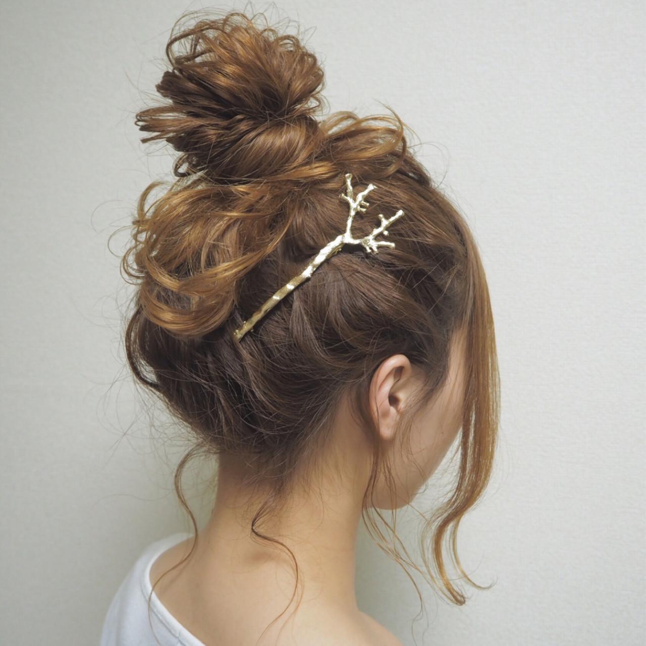 セミロング 簡単ヘアアレンジ モテ髪 ゆるふわ ヘアスタイルや髪型の写真・画像