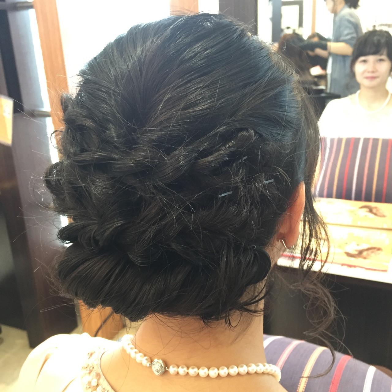パーティ 編み込み ミディアム ヘアアレンジ ヘアスタイルや髪型の写真・画像