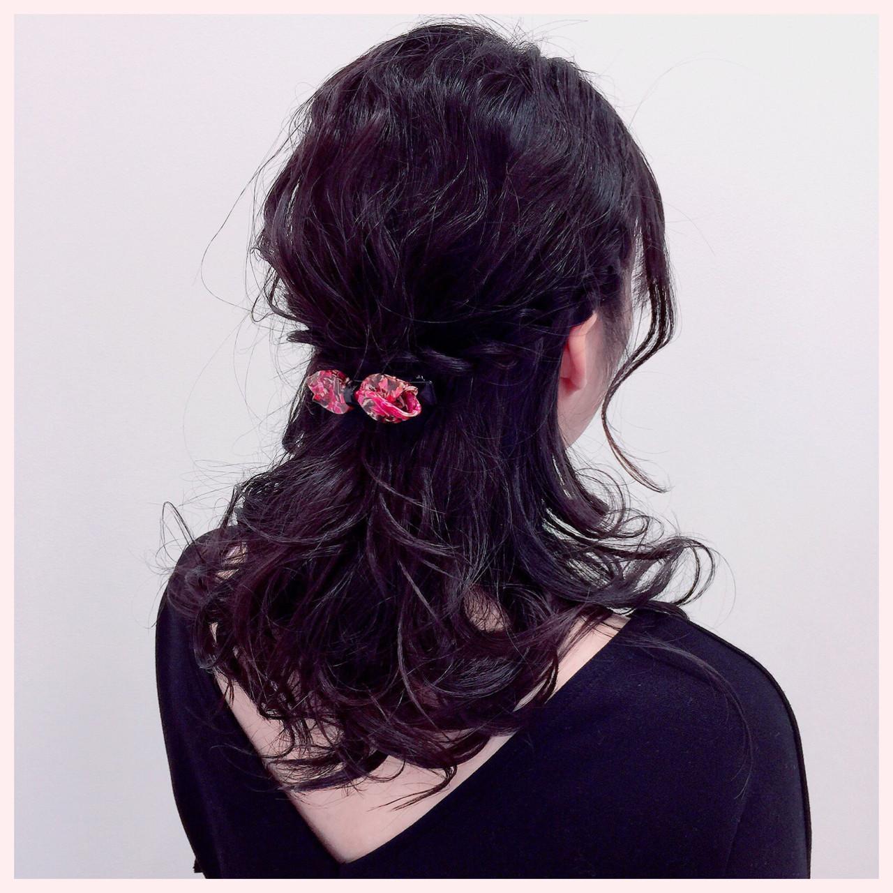 デート 簡単ヘアアレンジ ナチュラル ロング ヘアスタイルや髪型の写真・画像