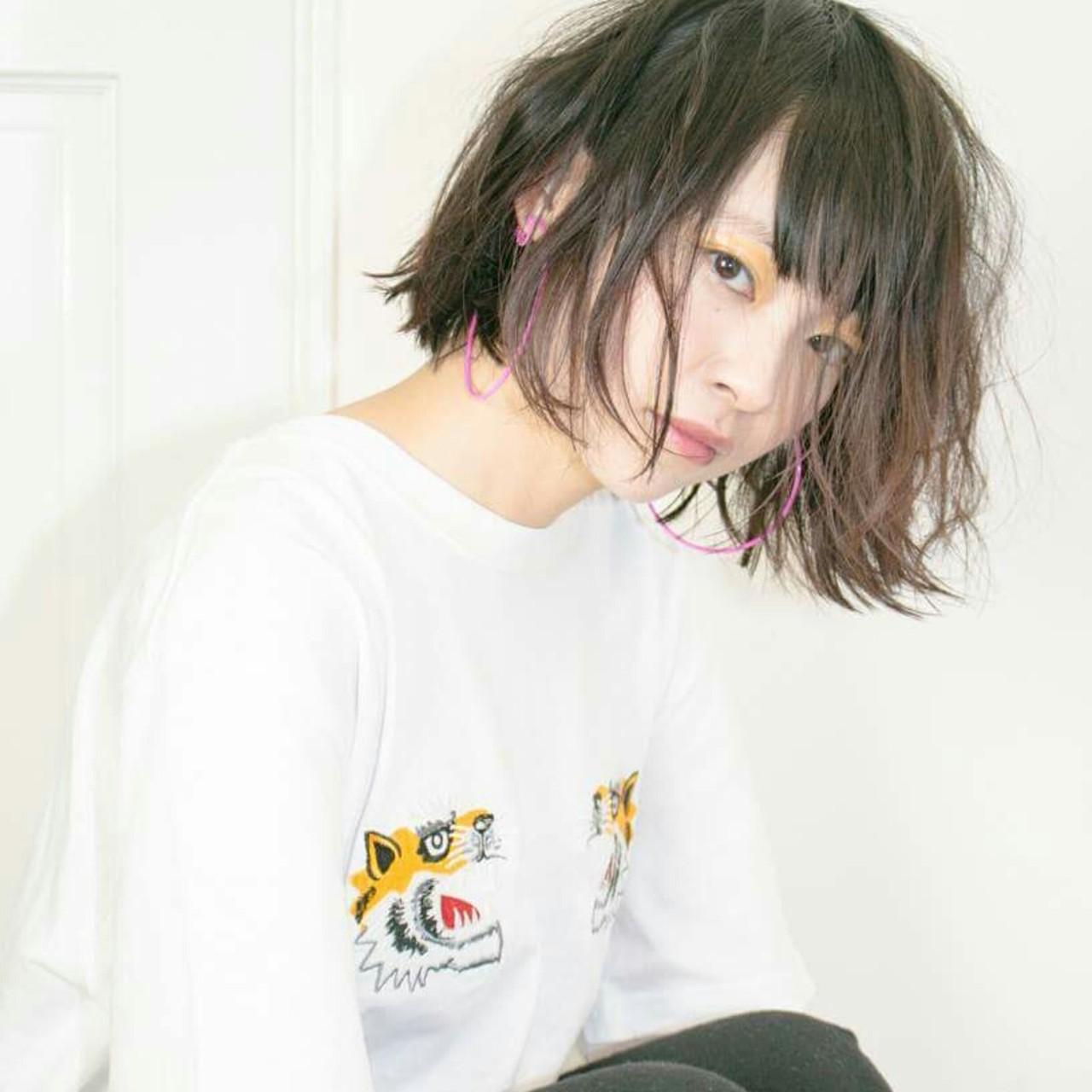 ボブ ストリート 黒髪 外国人風 ヘアスタイルや髪型の写真・画像   Well 中山 亮二 / Well Hair Make Studio