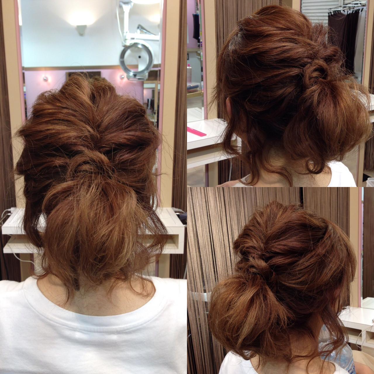 簡単ヘアアレンジ ミディアム くるりんぱ ショート ヘアスタイルや髪型の写真・画像   鈴木 健太郎 / ShuKRun