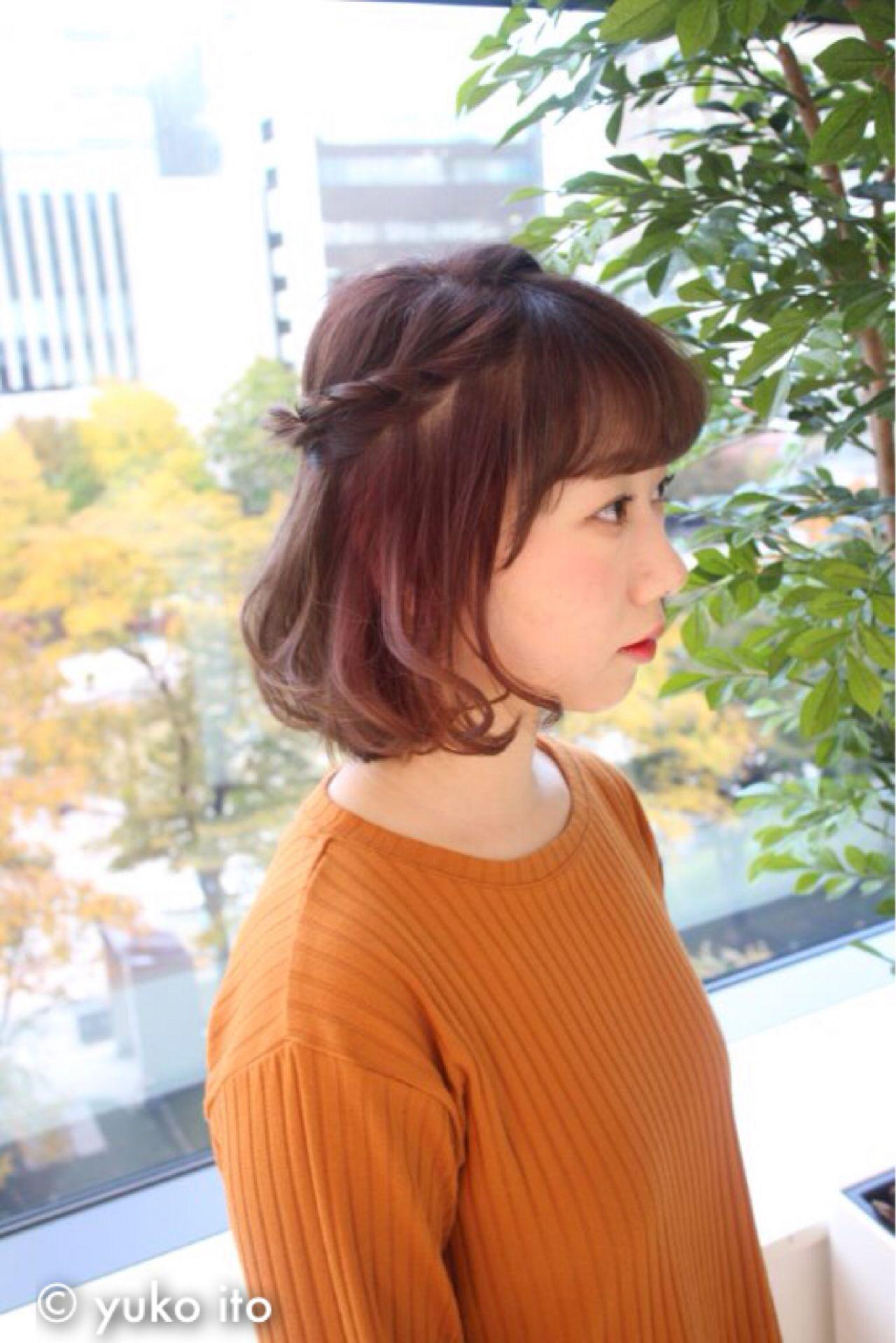 ラフ ヘアアレンジ フェミニン ボブ ヘアスタイルや髪型の写真・画像