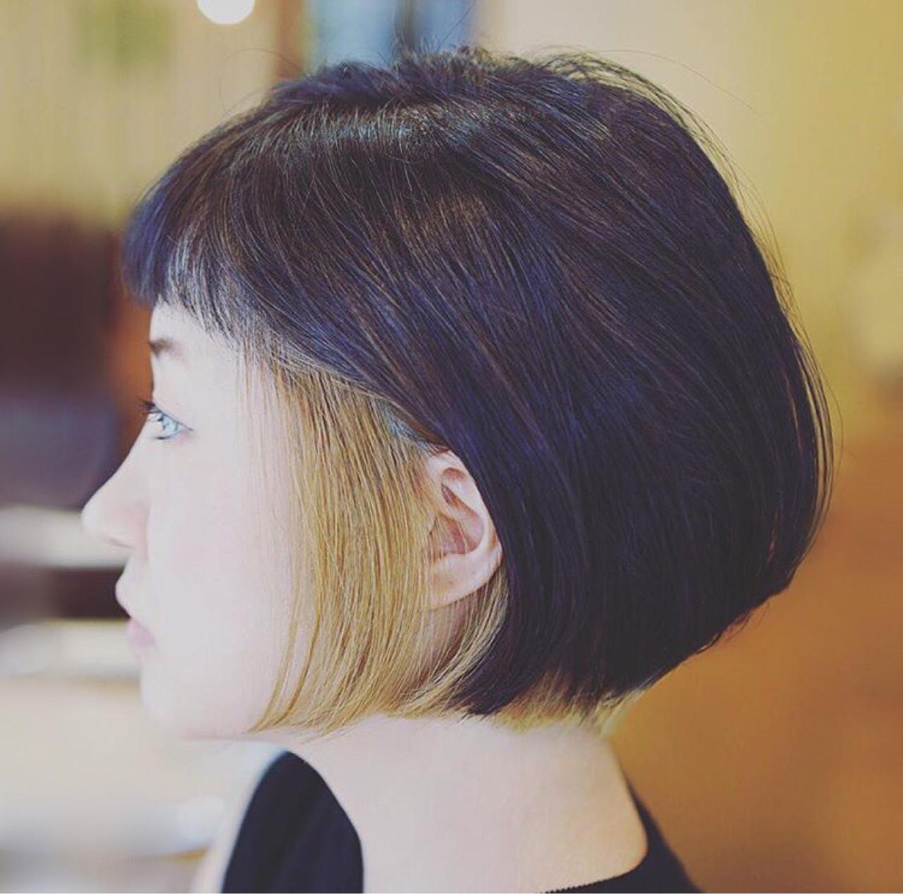 ハイトーン 抜け感 ボブ モード ヘアスタイルや髪型の写真・画像