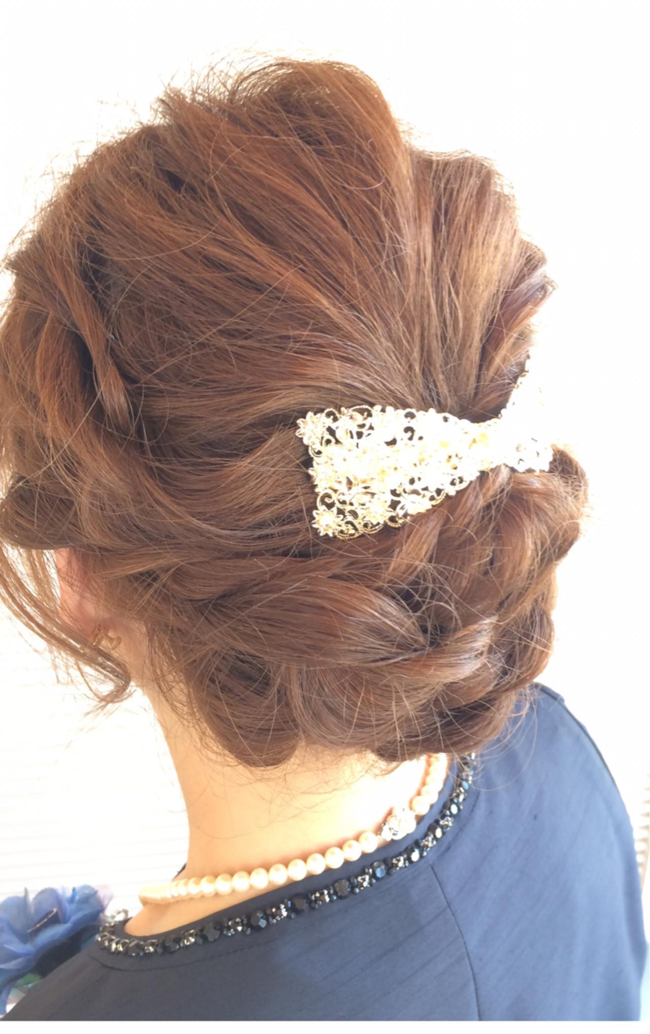 ミディアム 大人女子 ヘアアレンジ エレガント ヘアスタイルや髪型の写真・画像