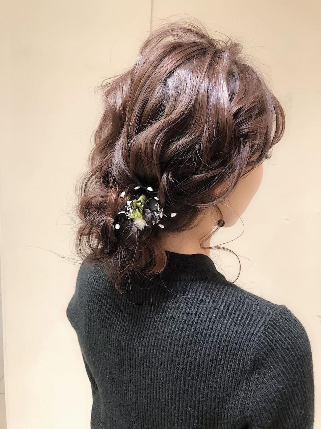 編みおろし デート 結婚式 ヘアアレンジ ヘアスタイルや髪型の写真・画像