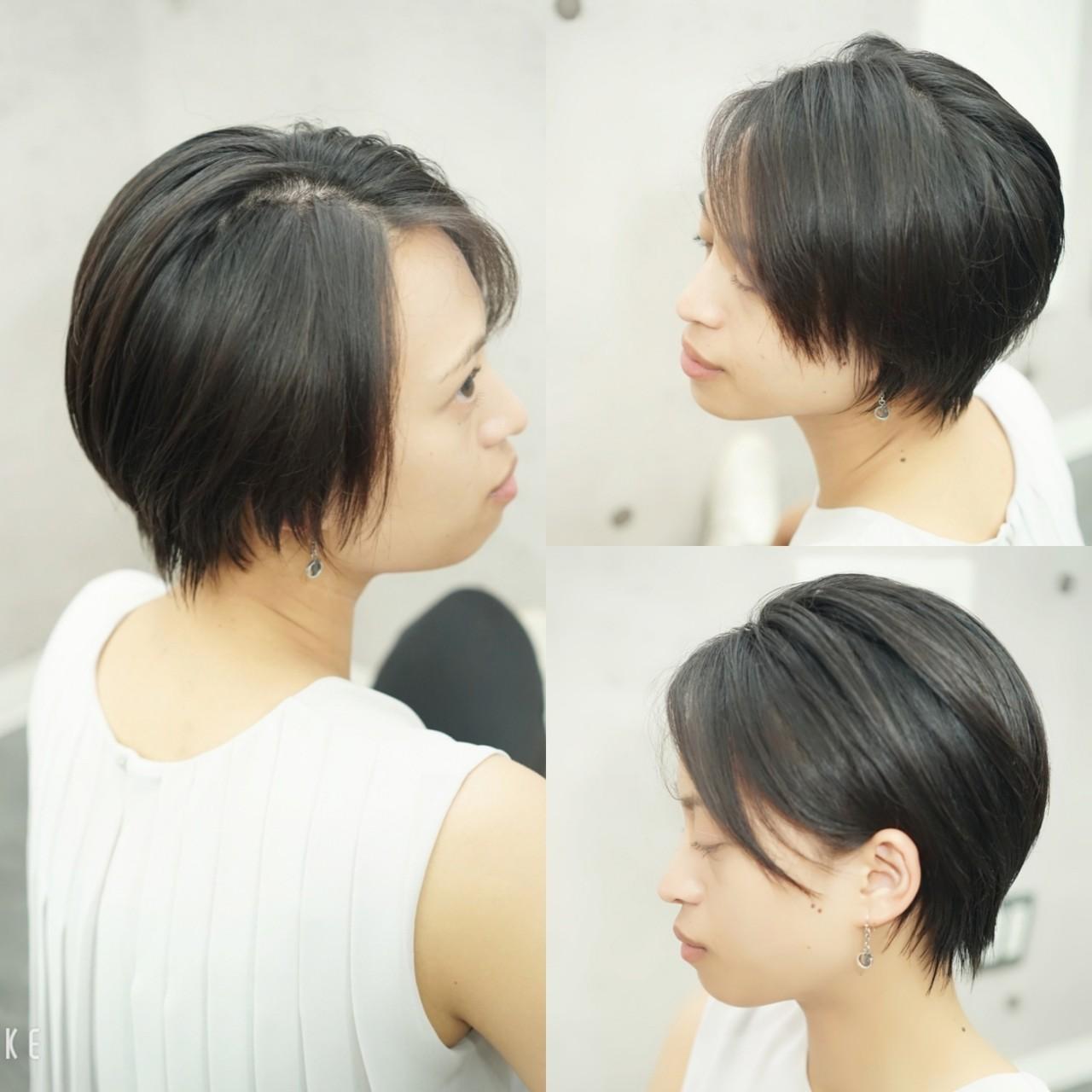 ベリーショート ナチュラル ハンサムショート 大人カジュアル ヘアスタイルや髪型の写真・画像