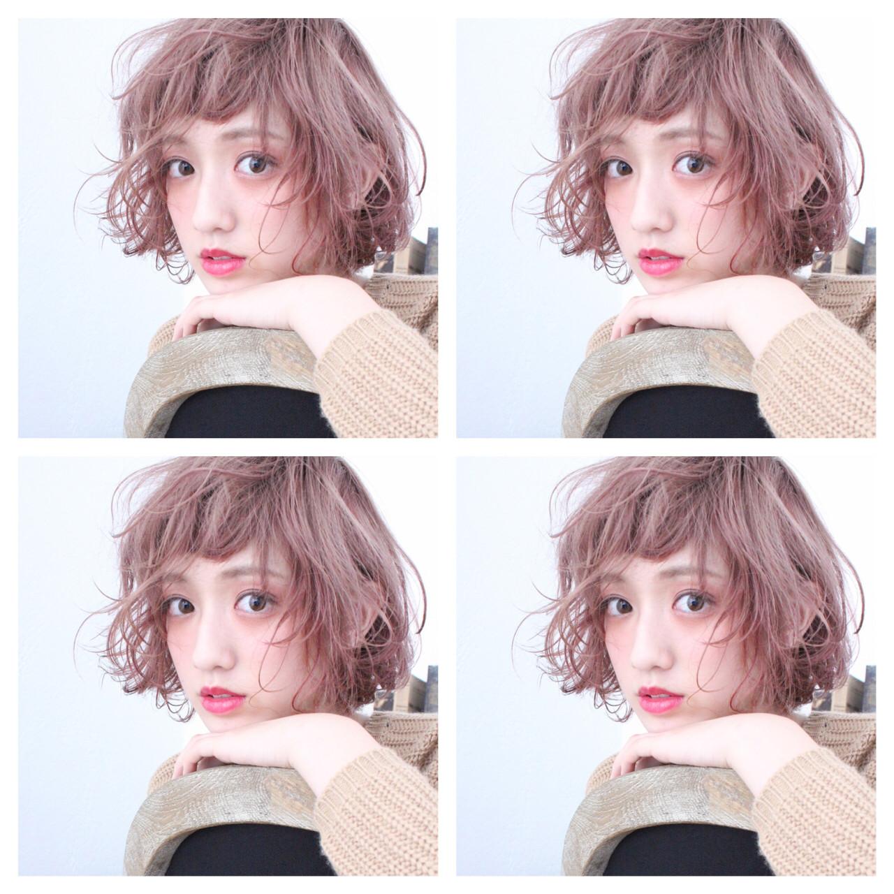 フェミニン ゆるふわ ベージュ ボブ ヘアスタイルや髪型の写真・画像