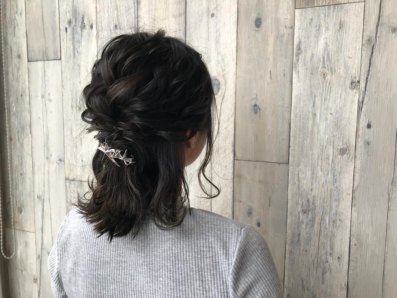 編み込み ヘアアレンジ イルミナカラー ミディアム ヘアスタイルや髪型の写真・画像