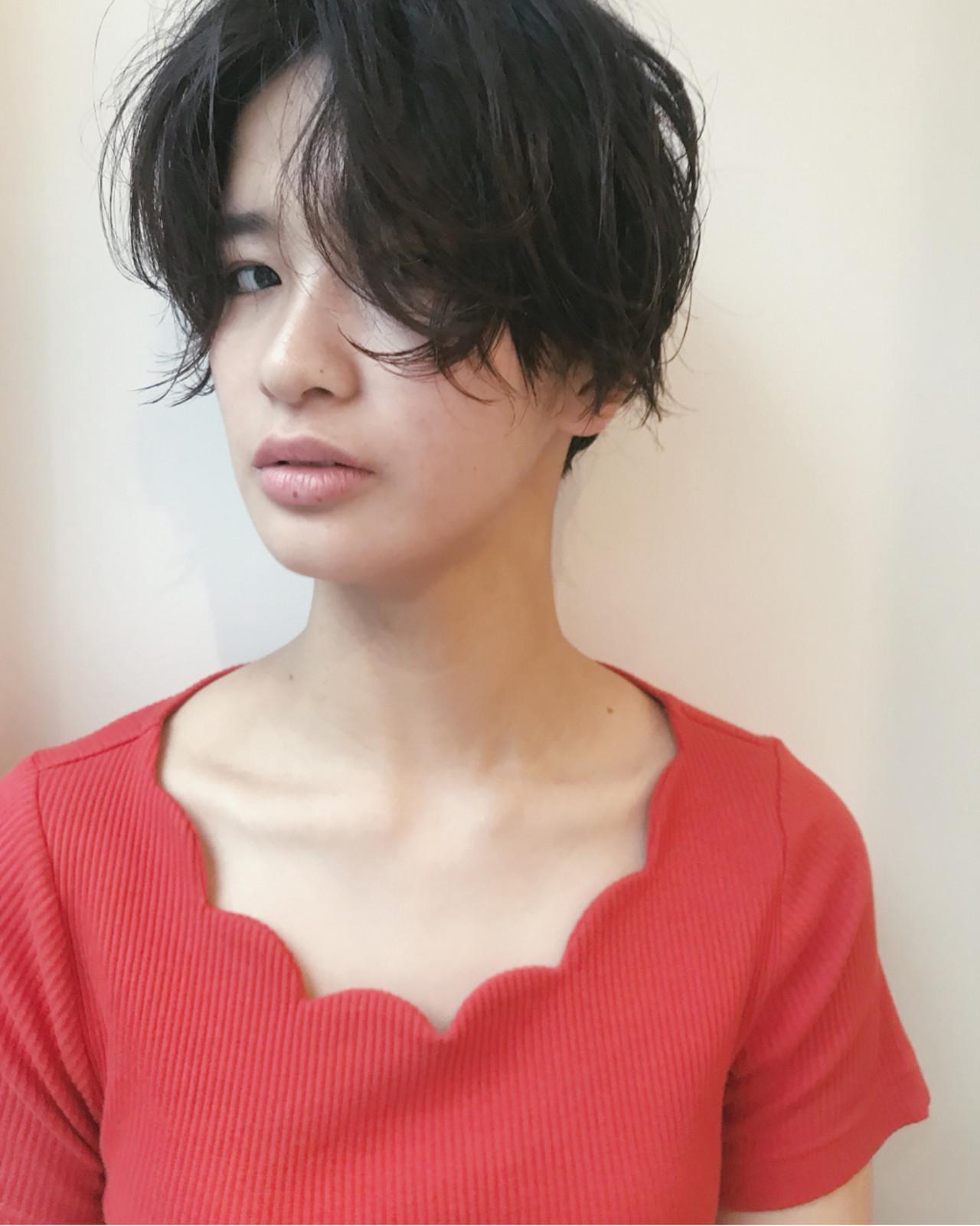 パーマ ショート 黒髪 マッシュ ヘアスタイルや髪型の写真・画像 | 仙頭郁弥 / LIM+LIM