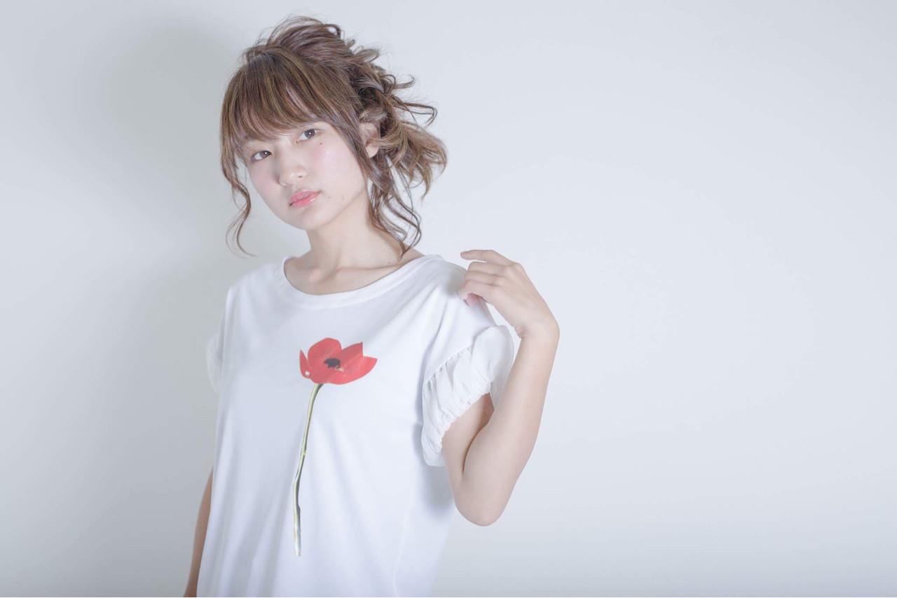 ハイライト 簡単ヘアアレンジ ゆるふわ ショート ヘアスタイルや髪型の写真・画像 | 秋山 佳奈 /