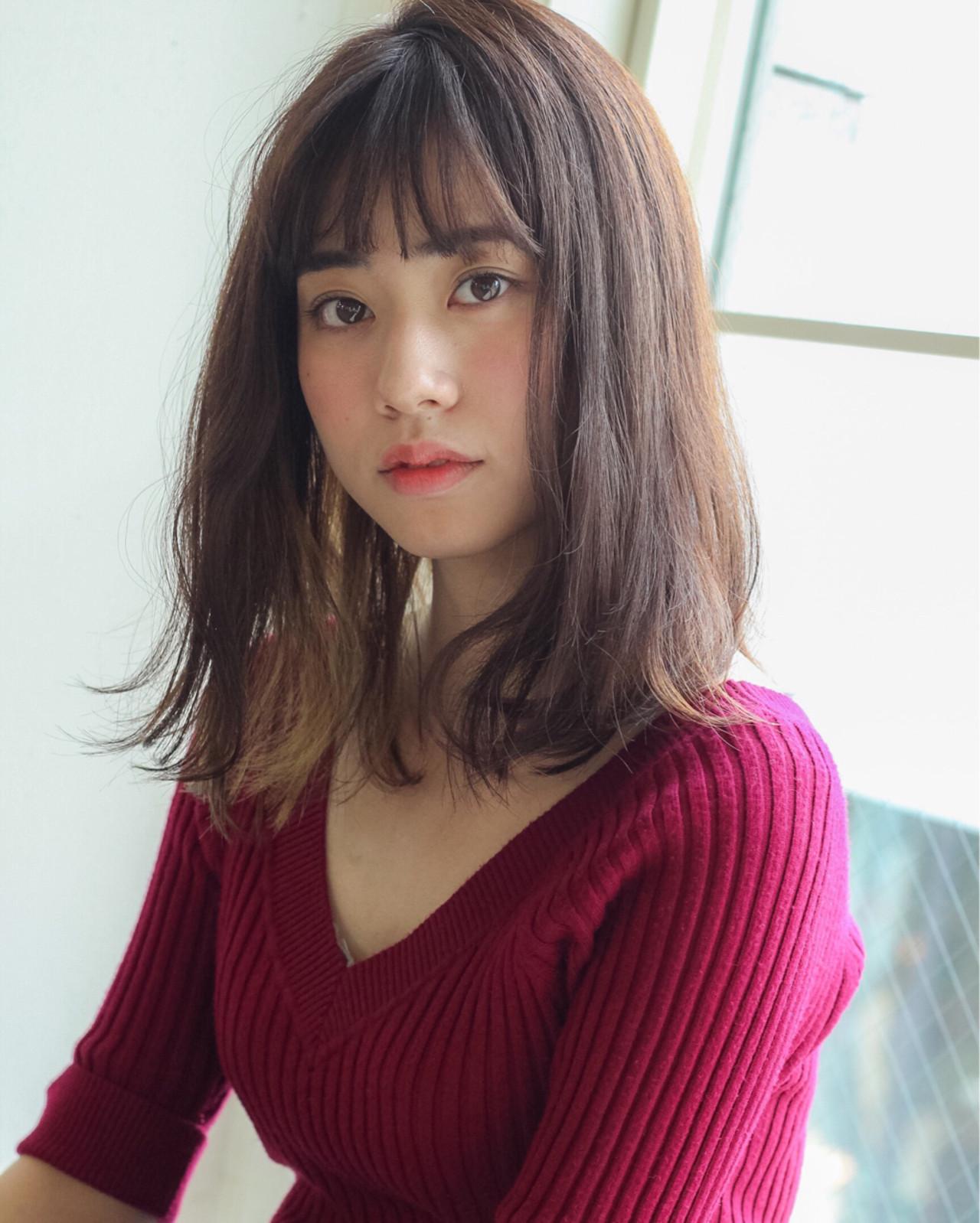ピンクブラウン ミディアム ピュア 前髪あり ヘアスタイルや髪型の写真・画像