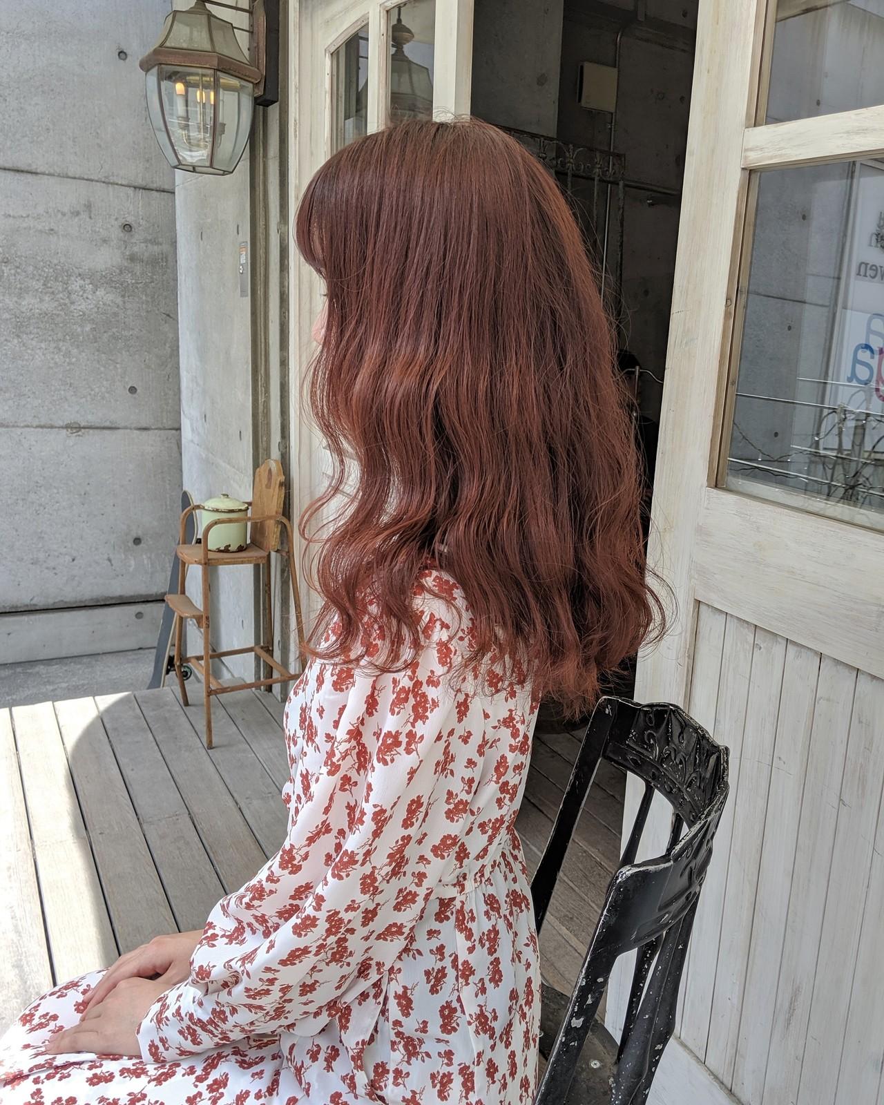 ピンク ガーリー デート ピンクブラウン ヘアスタイルや髪型の写真・画像 | HIFUMI / möwen
