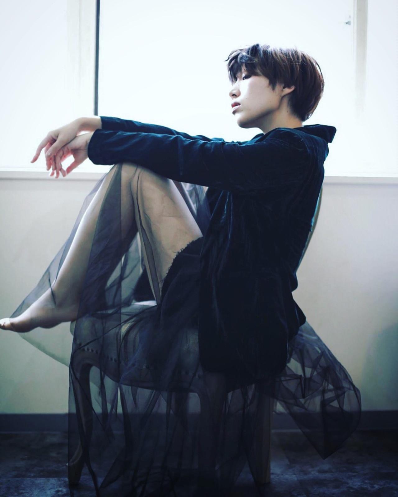ショート 黒髪 うざバング こなれ感 ヘアスタイルや髪型の写真・画像 | yuunn /