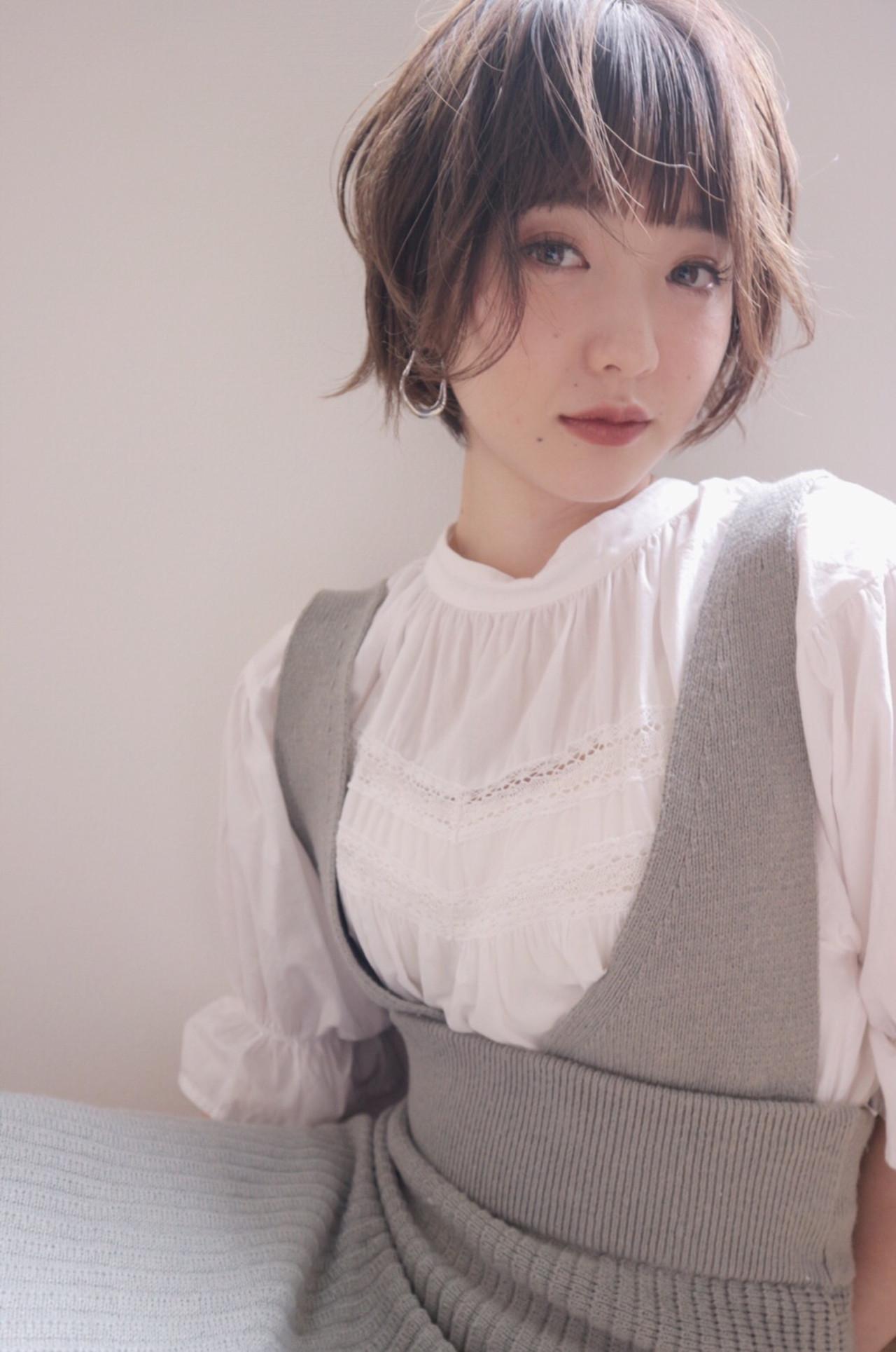 ショート 外国人風カラー ラベンダーアッシュ ラベンダーグレージュ ヘアスタイルや髪型の写真・画像