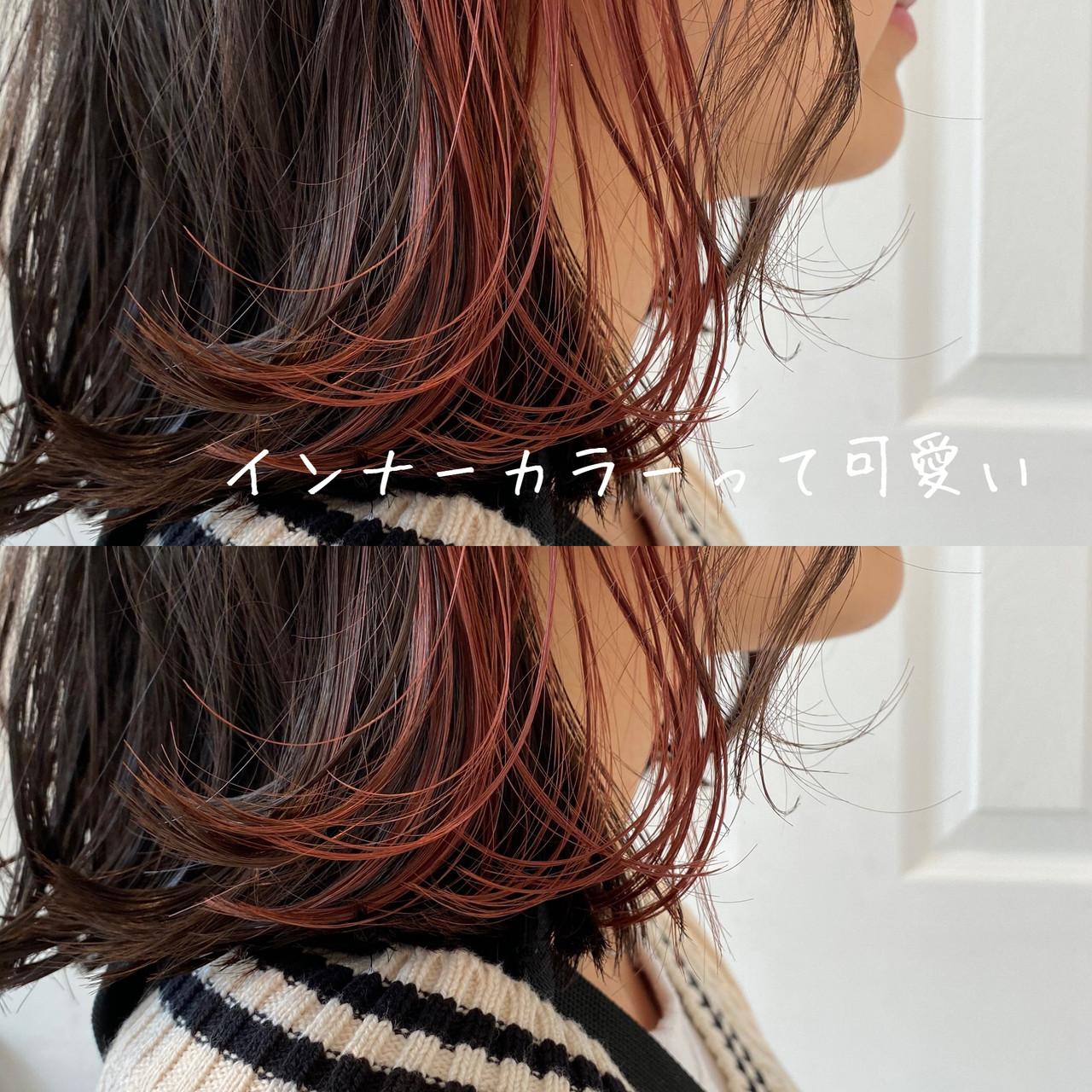 ラベンダーピンク インナーカラー ラベンダーアッシュ ナチュラル ヘアスタイルや髪型の写真・画像