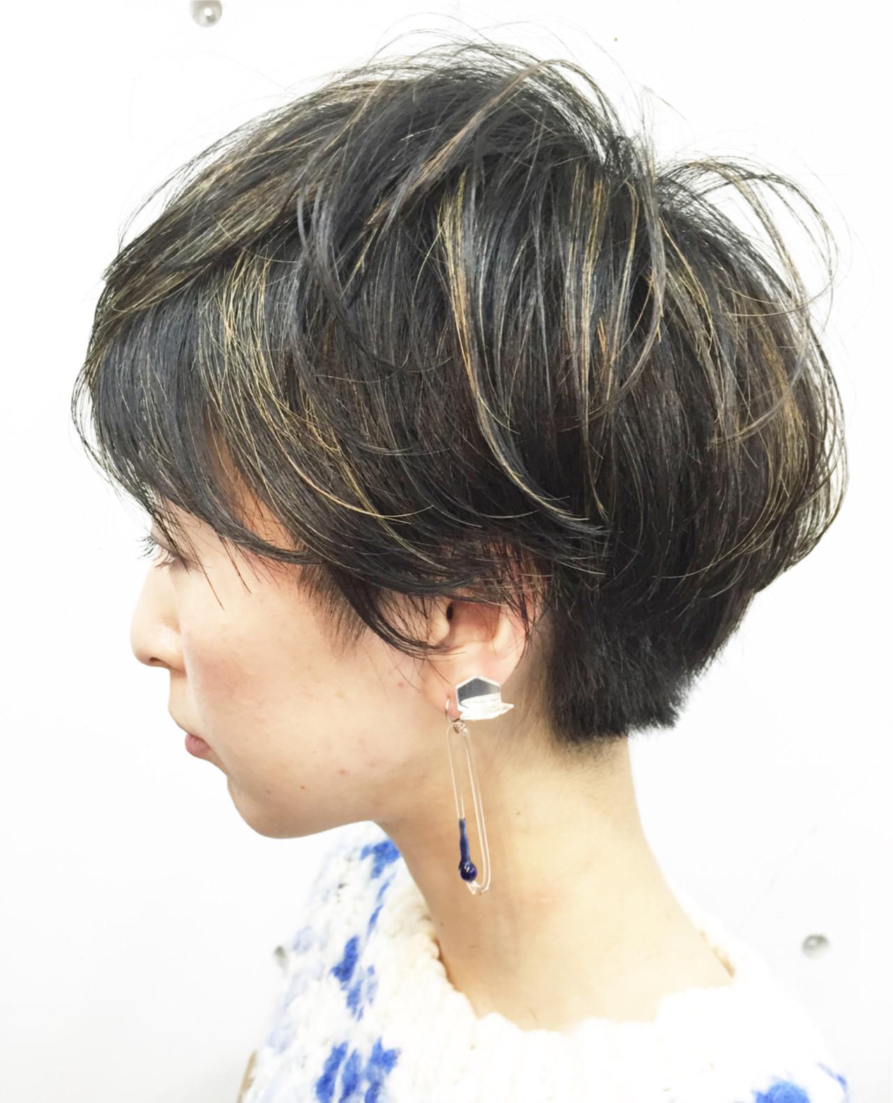ショート 刈り上げ ストリート ハイライト ヘアスタイルや髪型の写真・画像