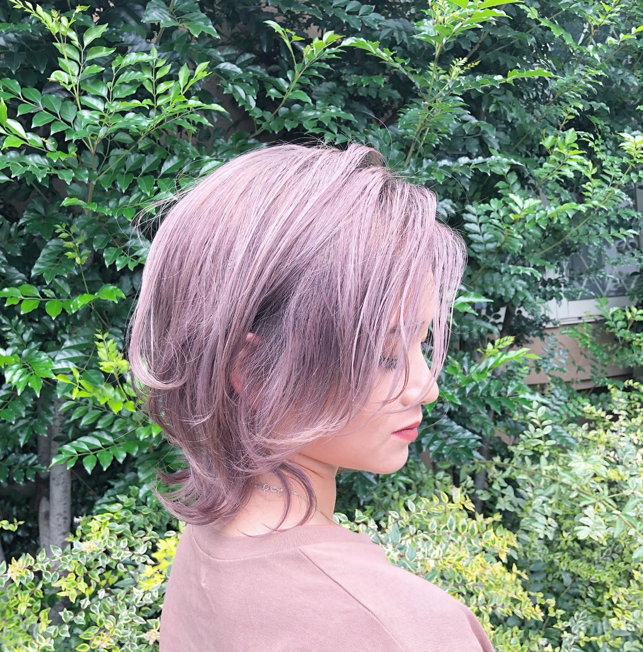 インナーカラー ハイライト ユニコーンカラー ボブ ヘアスタイルや髪型の写真・画像
