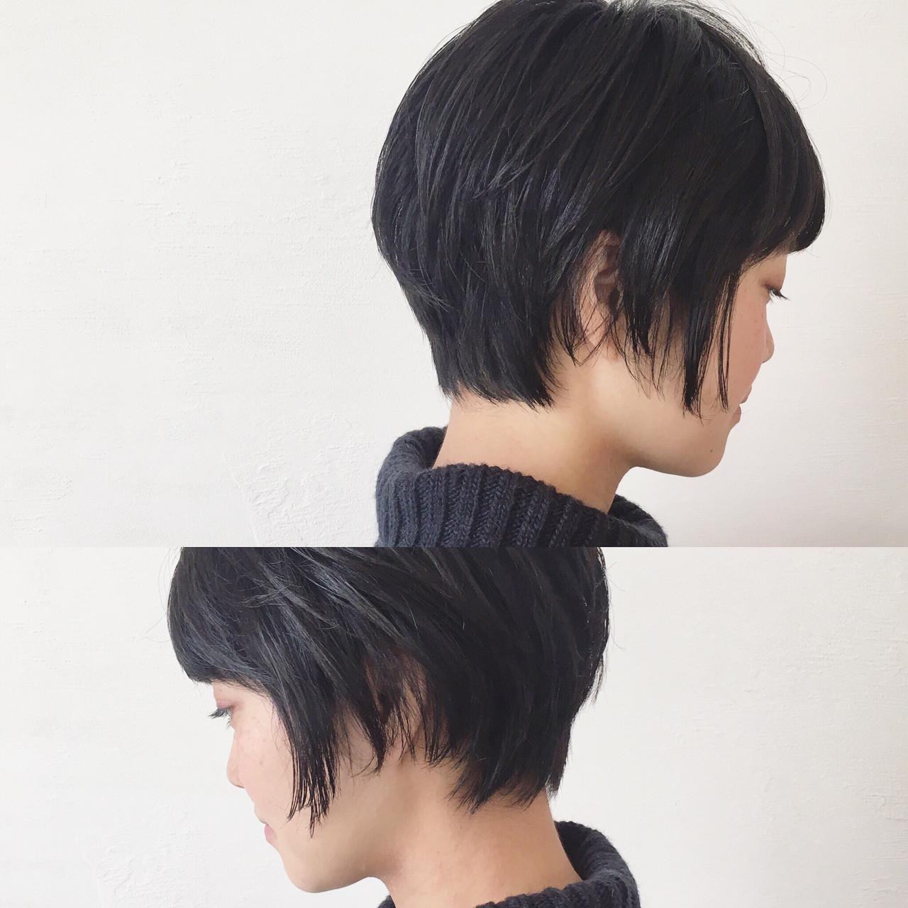 暗髪 ニュアンス ショートボブ ショート ヘアスタイルや髪型の写真・画像