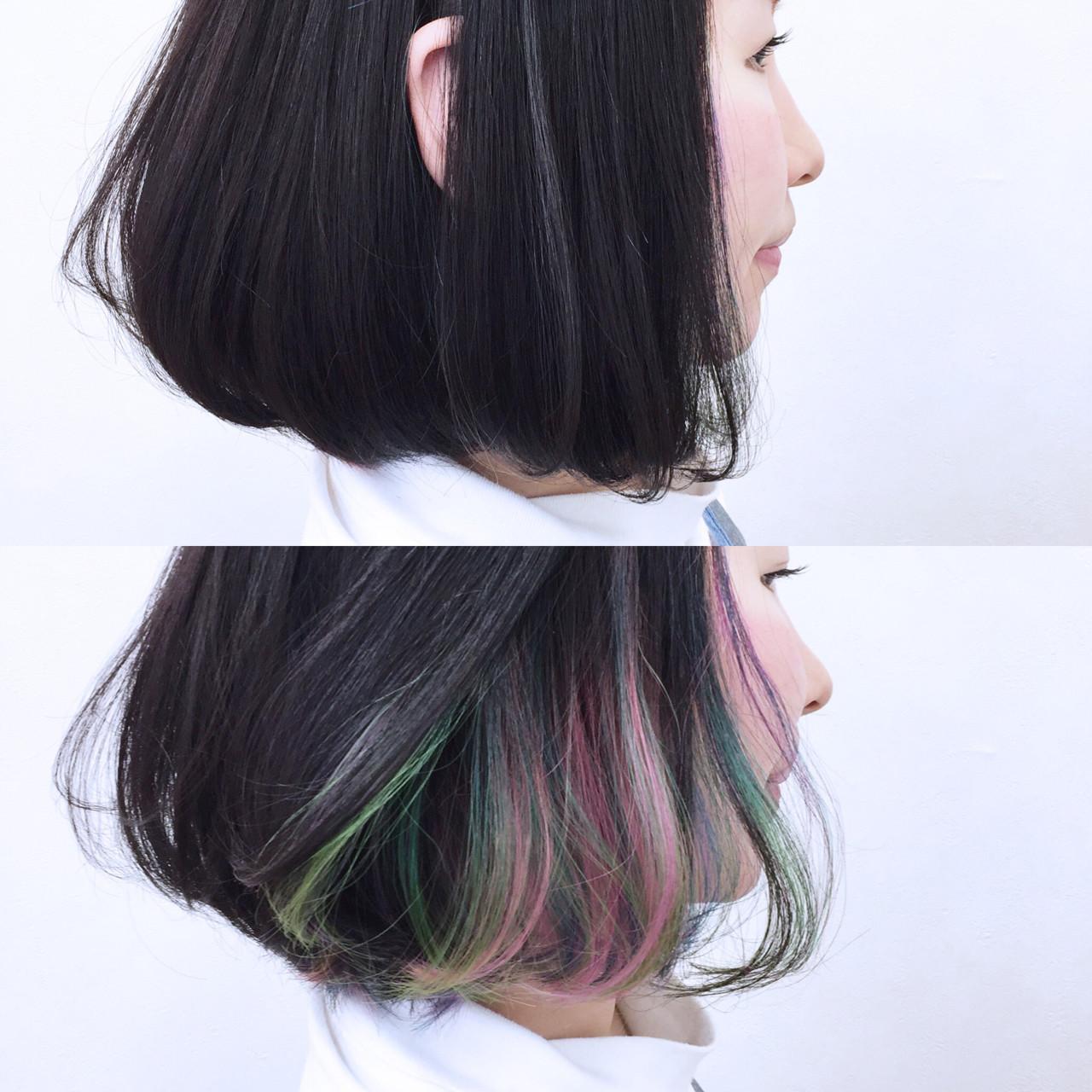 黒髪 カラフルカラー ボブ ストリート ヘアスタイルや髪型の写真・画像 | YSO / 電髪倶楽部street