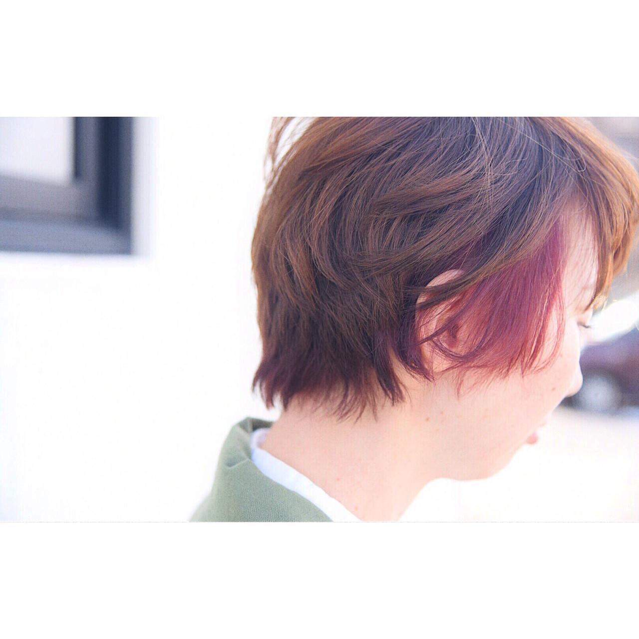 ピンク ショート アンニュイ ゆるふわ ヘアスタイルや髪型の写真・画像