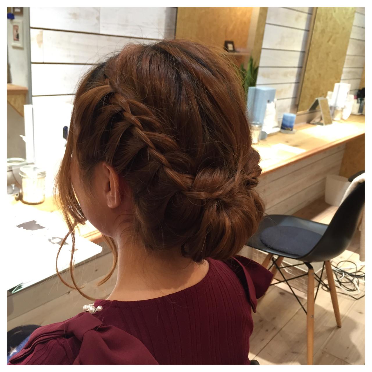 編み込み ロング ヘアアレンジ 大人かわいい ヘアスタイルや髪型の写真・画像