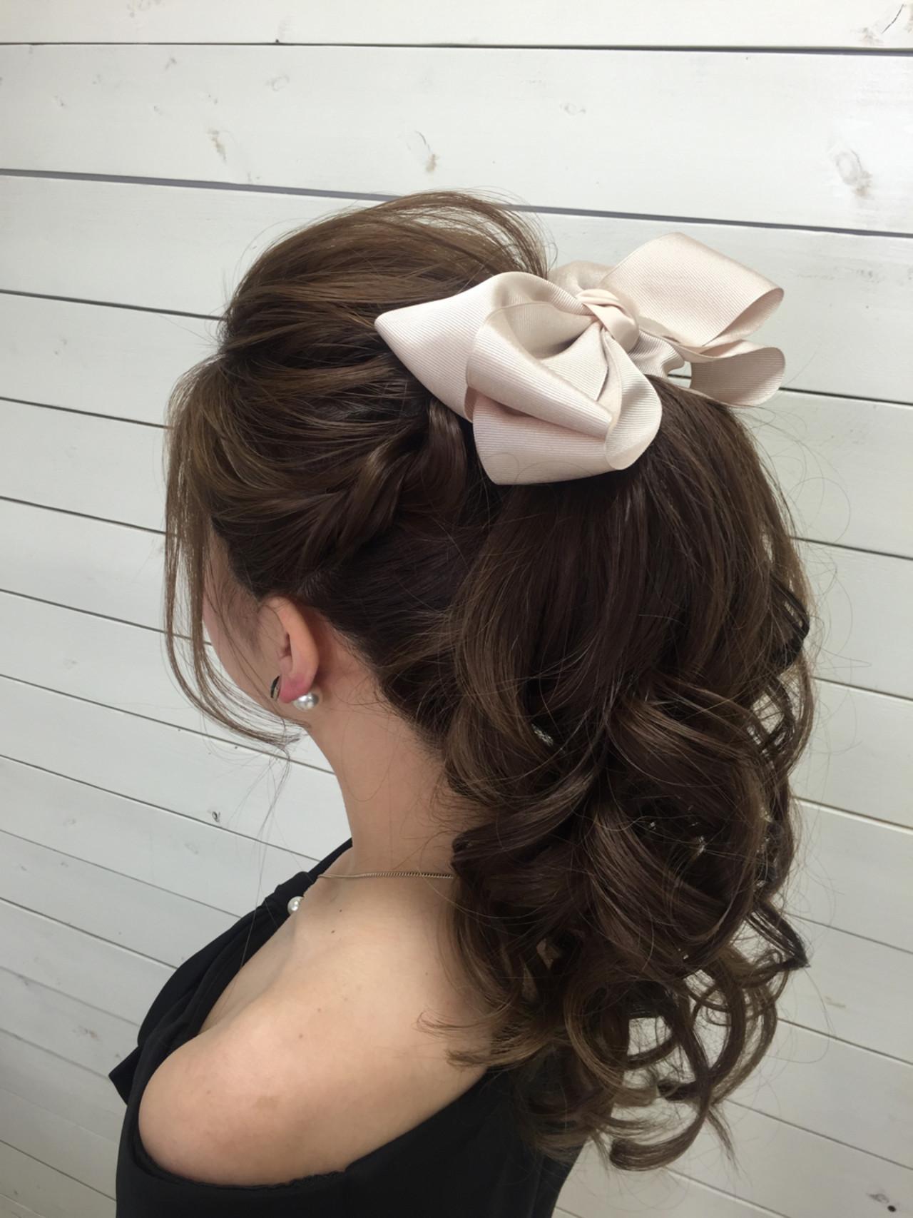 ロング ポニーテール アップスタイル ルーズ ヘアスタイルや髪型の写真・画像