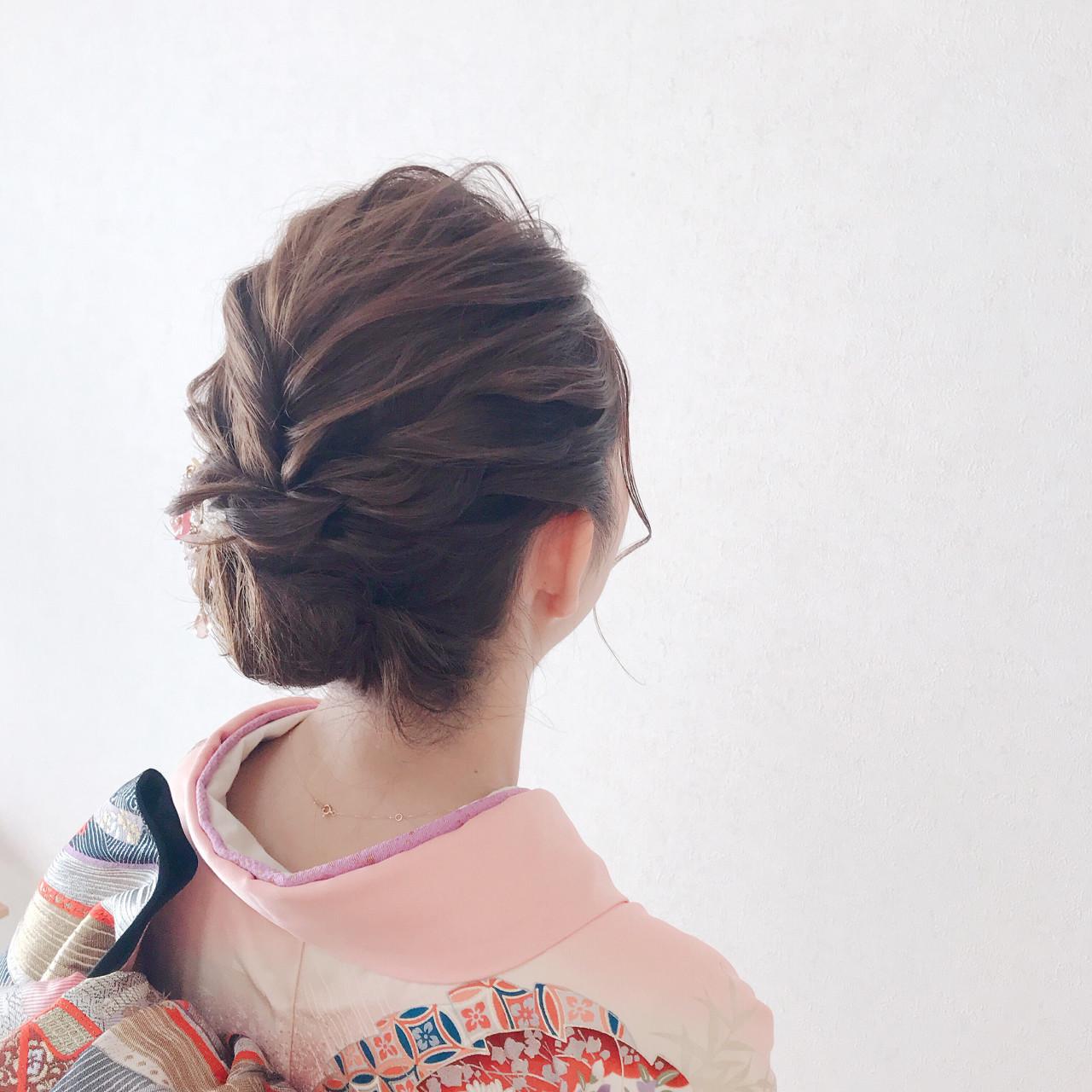 ミディアム 成人式 フェミニン 振袖 ヘアスタイルや髪型の写真・画像