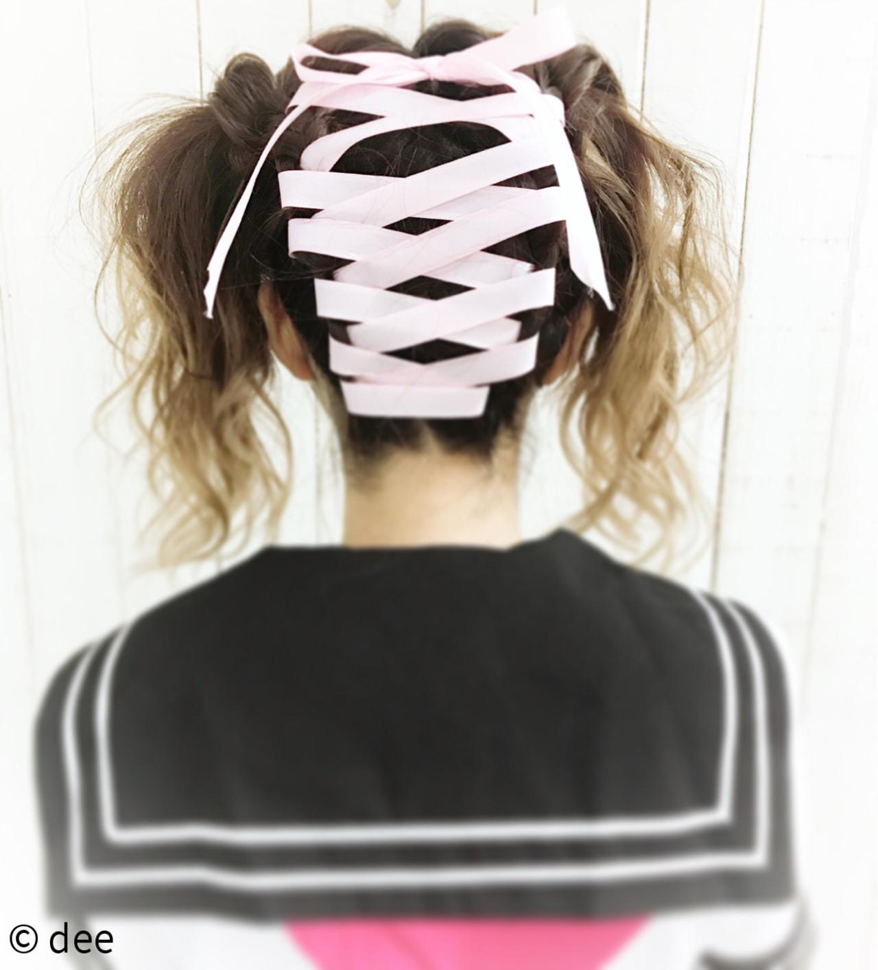 裏編み込み ハロウィン ロング ヘアアレンジ ヘアスタイルや髪型の写真・画像