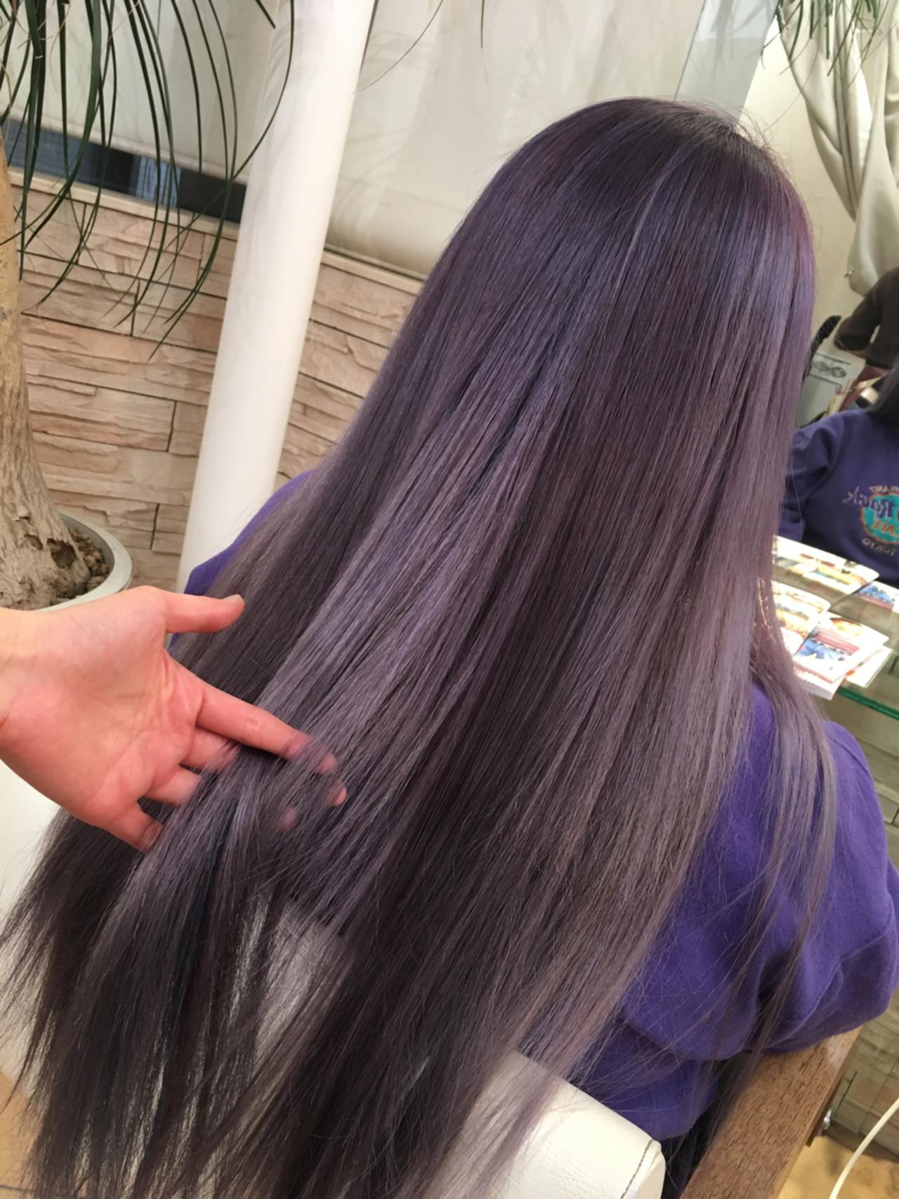 グラデーションカラー パープル アッシュグラデーション ロング ヘアスタイルや髪型の写真・画像